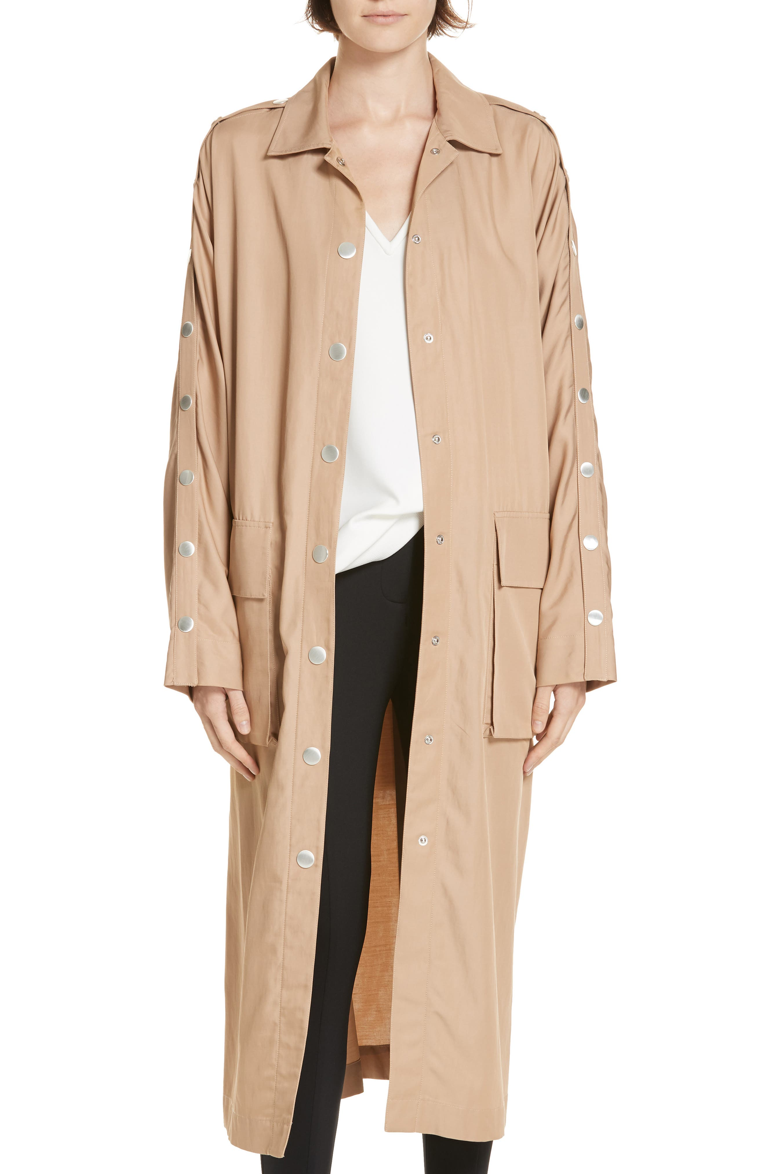 Snap Detail Trench Coat,                             Alternate thumbnail 8, color,                             200
