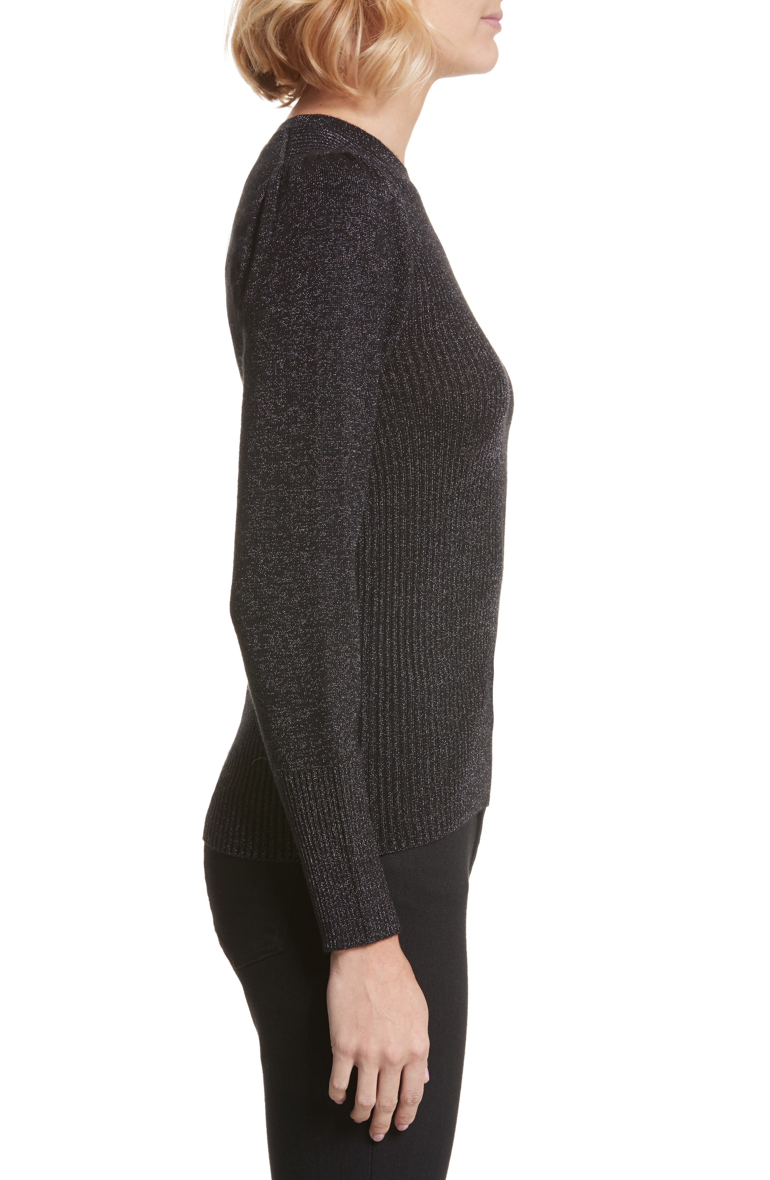 Metallic Ribbed Pullover,                             Alternate thumbnail 3, color,                             018