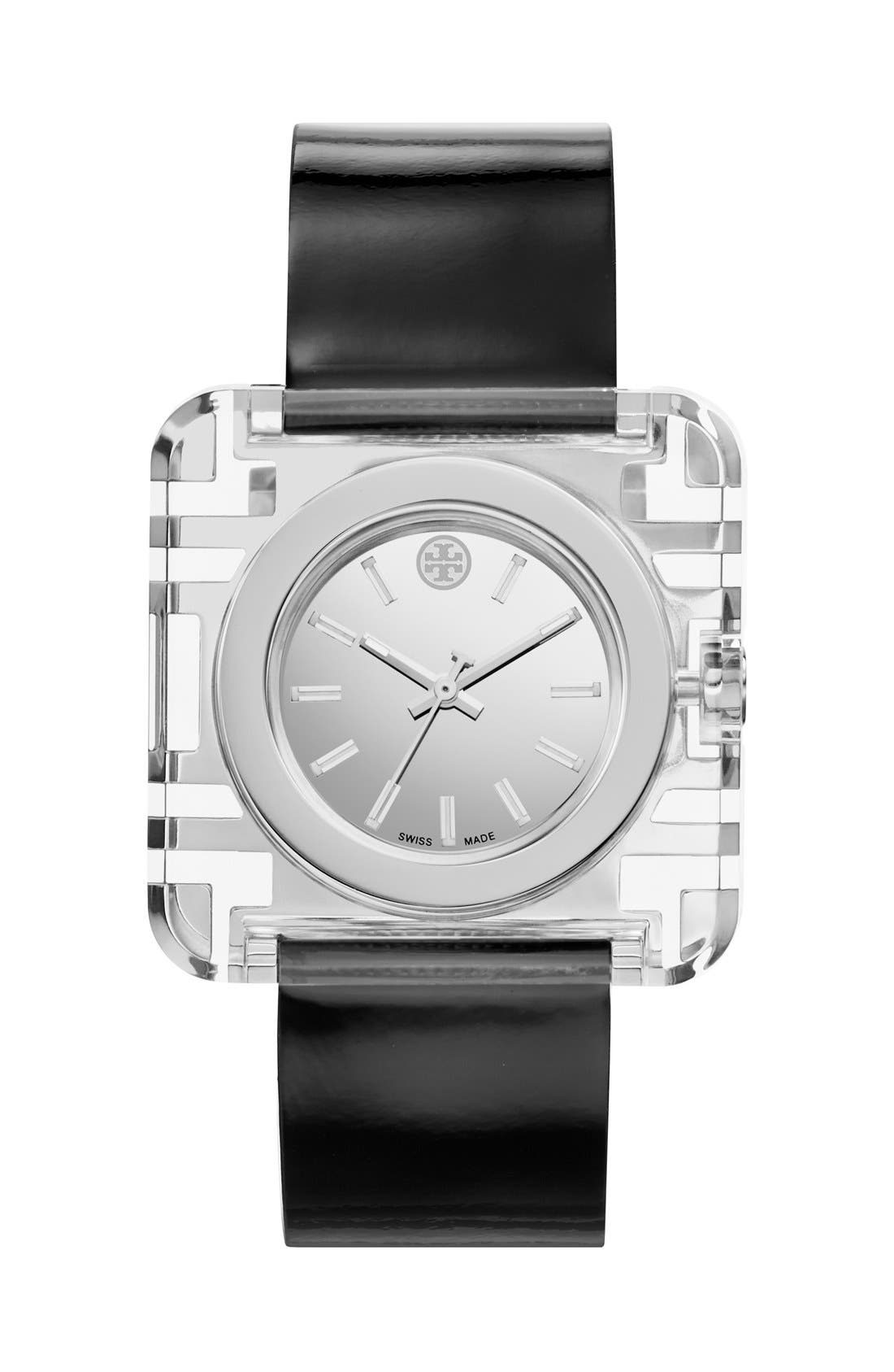 TORY BURCH,                             'Izzie' Square Leather Strap Watch, 36mm,                             Main thumbnail 1, color,                             001