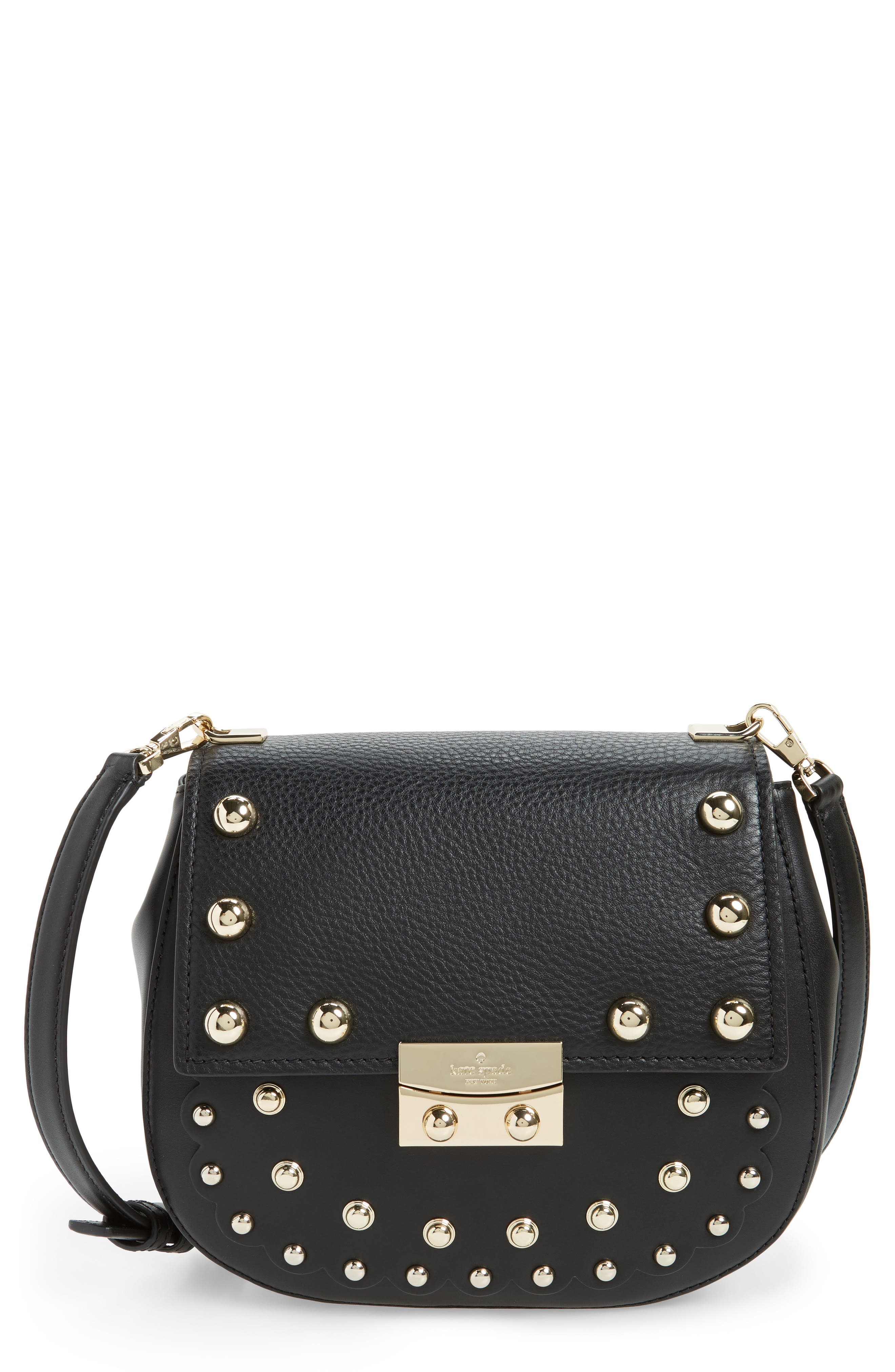 madison stewart street - byrdie studded leather crossbody bag,                             Main thumbnail 1, color,                             001