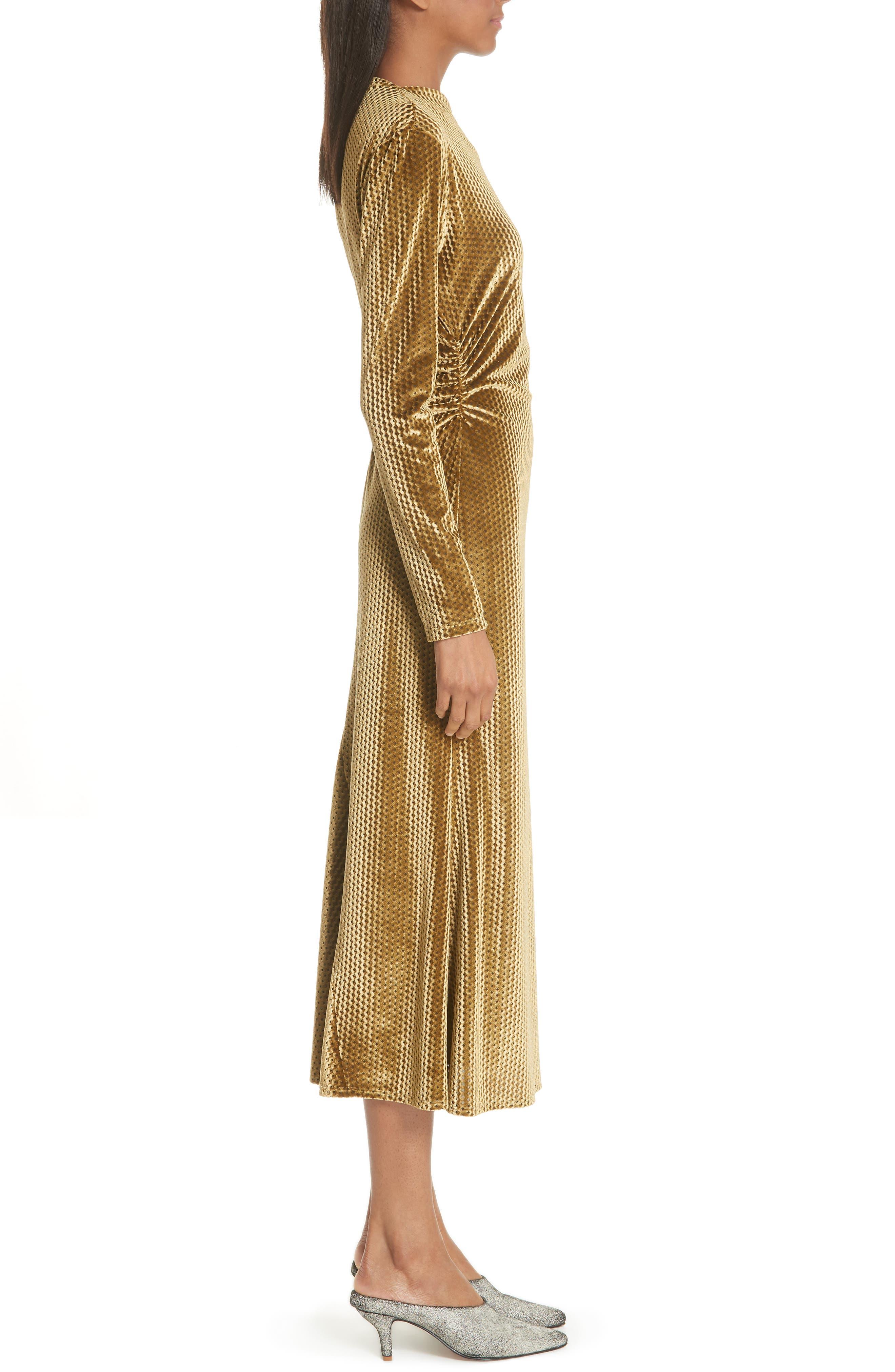 Ruched Velvet Jacquard Midi Dress,                             Alternate thumbnail 3, color,                             GOLD