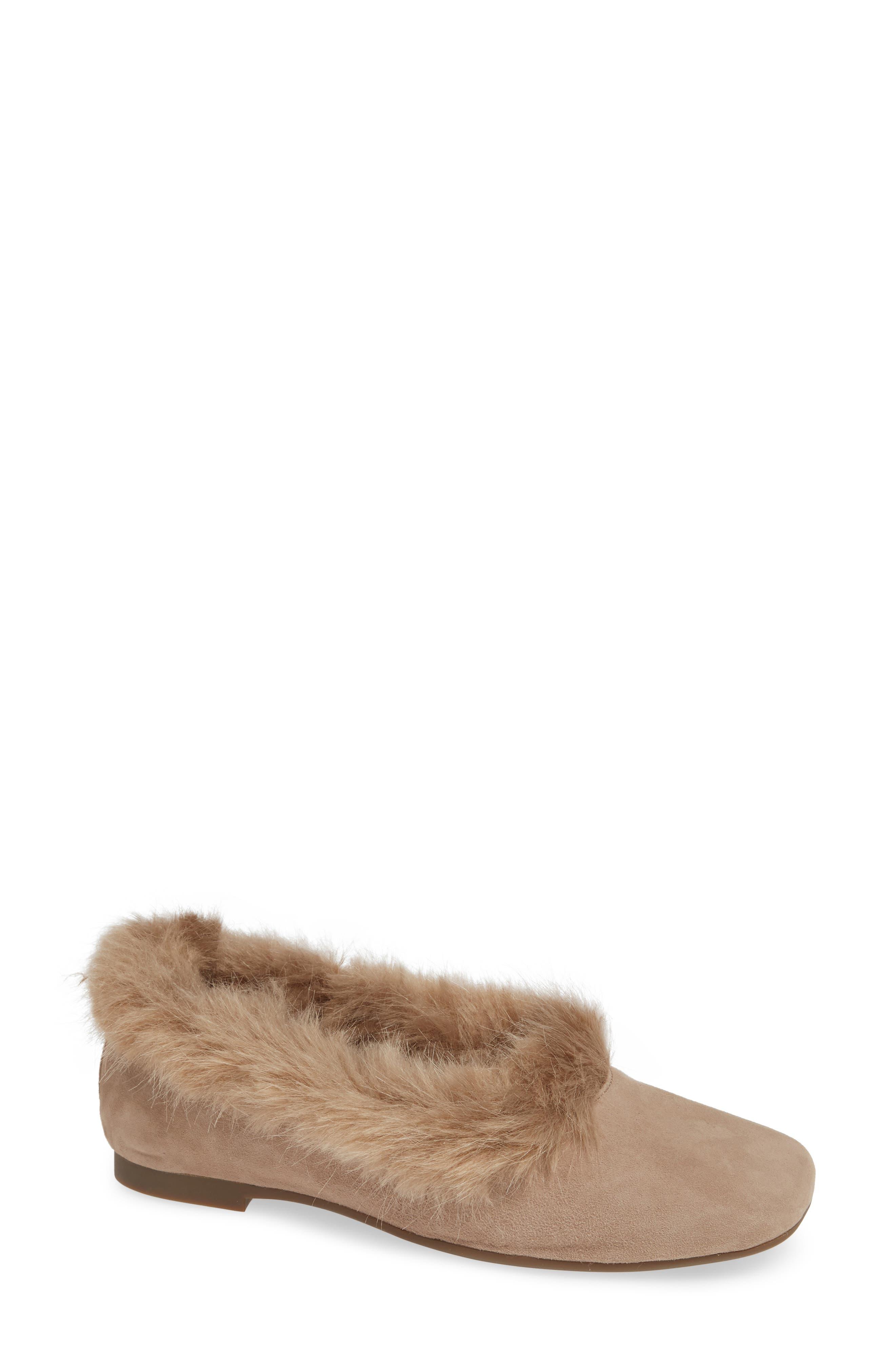 TARYN ROSE Ryanne Water Resistant Faux Fur Flat in Taupe Suede