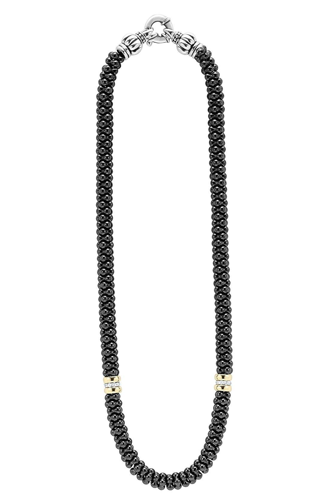 'Black Caviar' 7mm Beaded Diamond Station Necklace,                         Main,                         color, BLACK CAVIAR/ GOLD