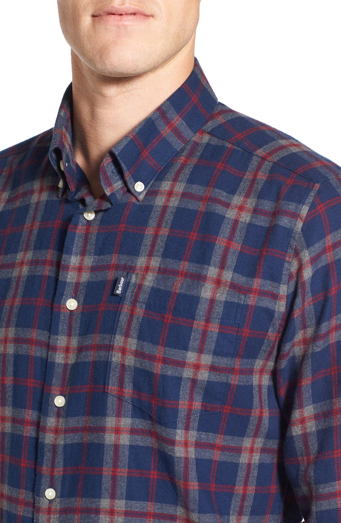 Seth Tailored Fit Plaid Sport Shirt,                             Alternate thumbnail 4, color,