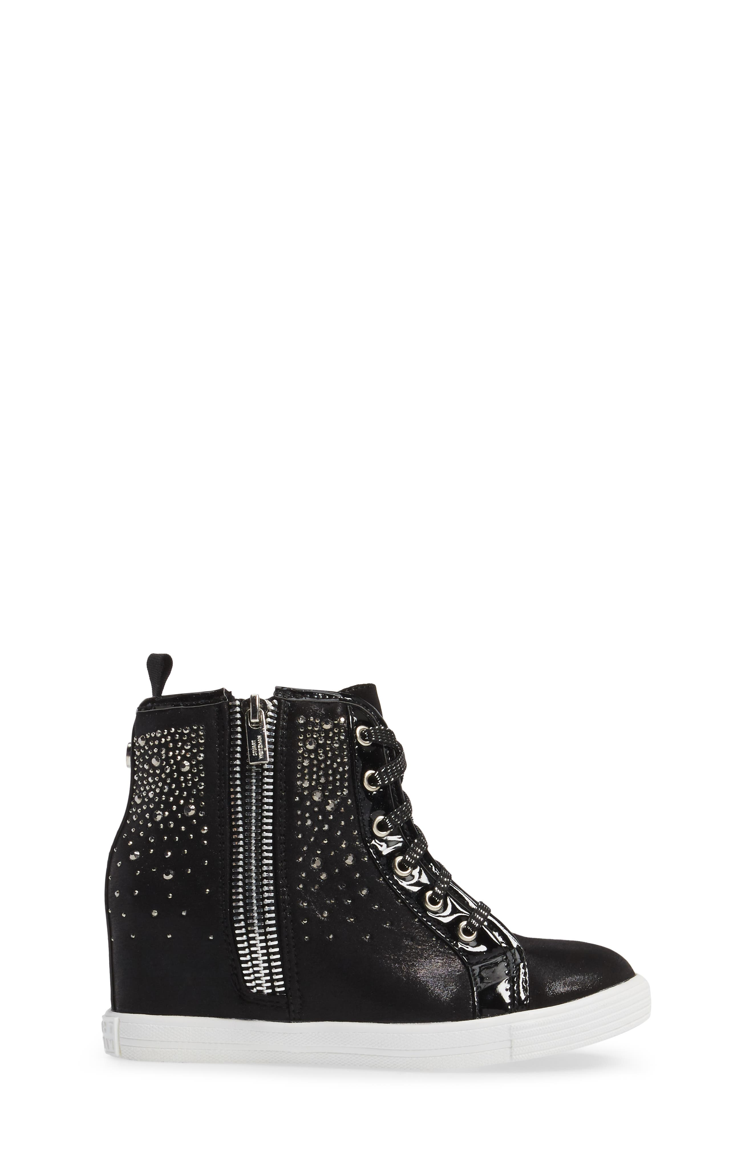 Vance Double Embellished Concealed Wedge High Top,                             Alternate thumbnail 3, color,                             001