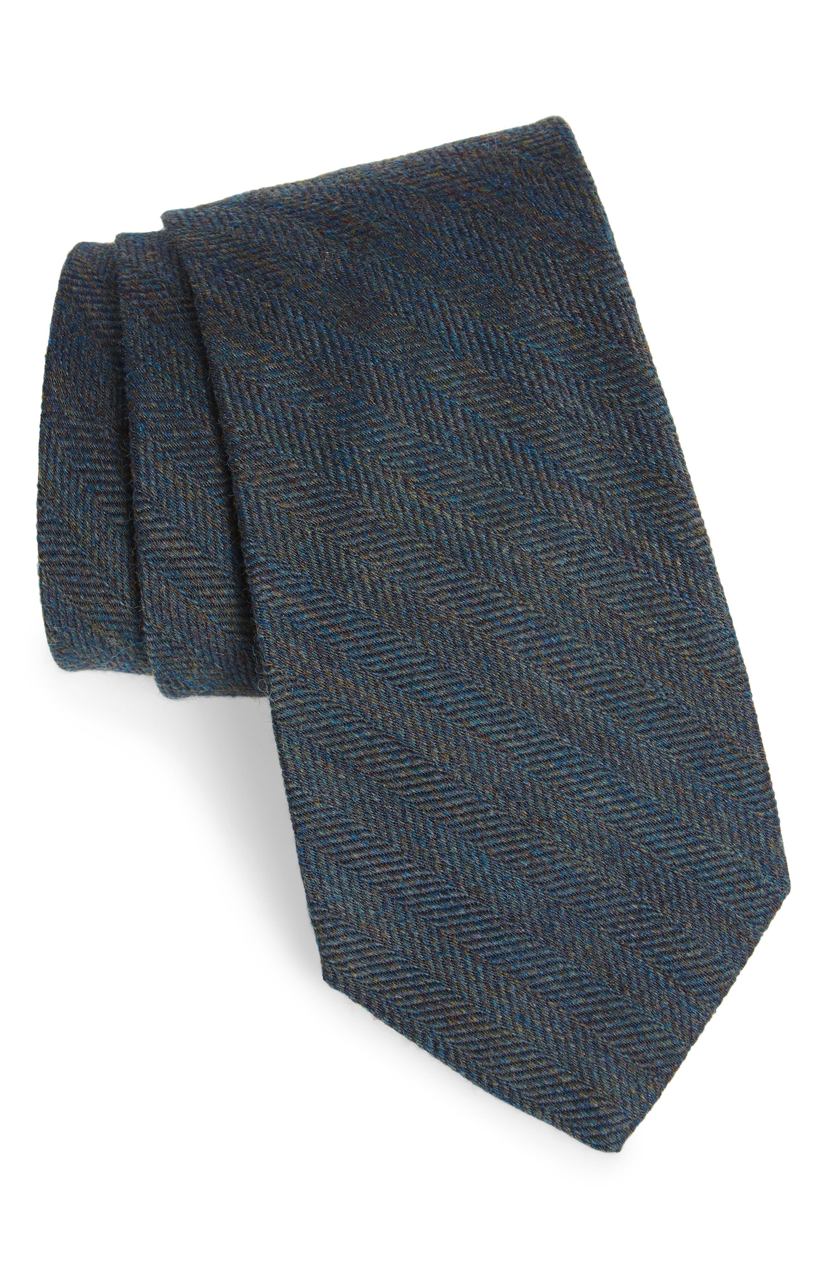 Herringbone Wool & Silk Tie,                         Main,                         color, 020