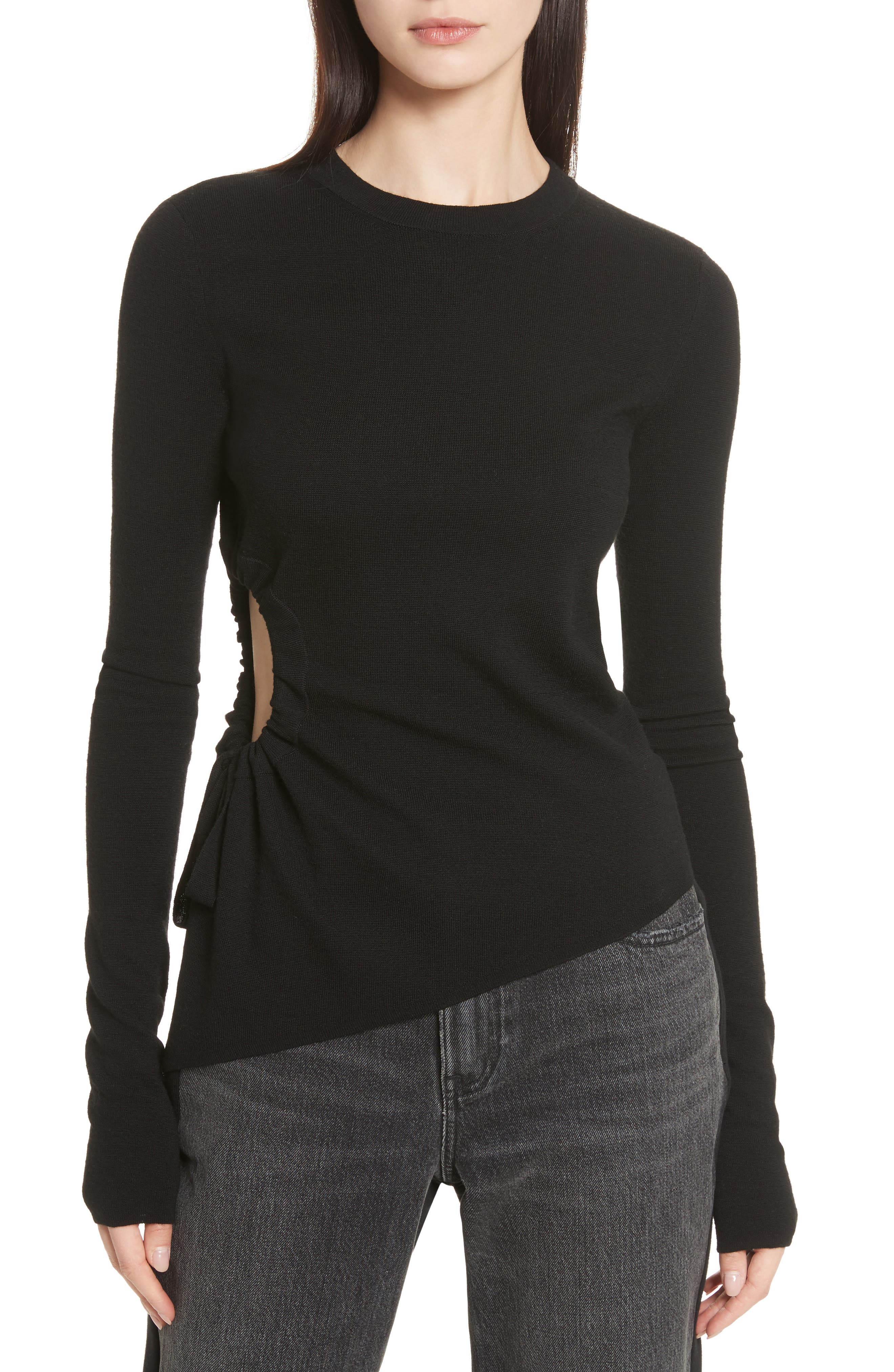 T by Alexander Side Cutout Ruched Merino Wool Sweater,                             Main thumbnail 1, color,                             001