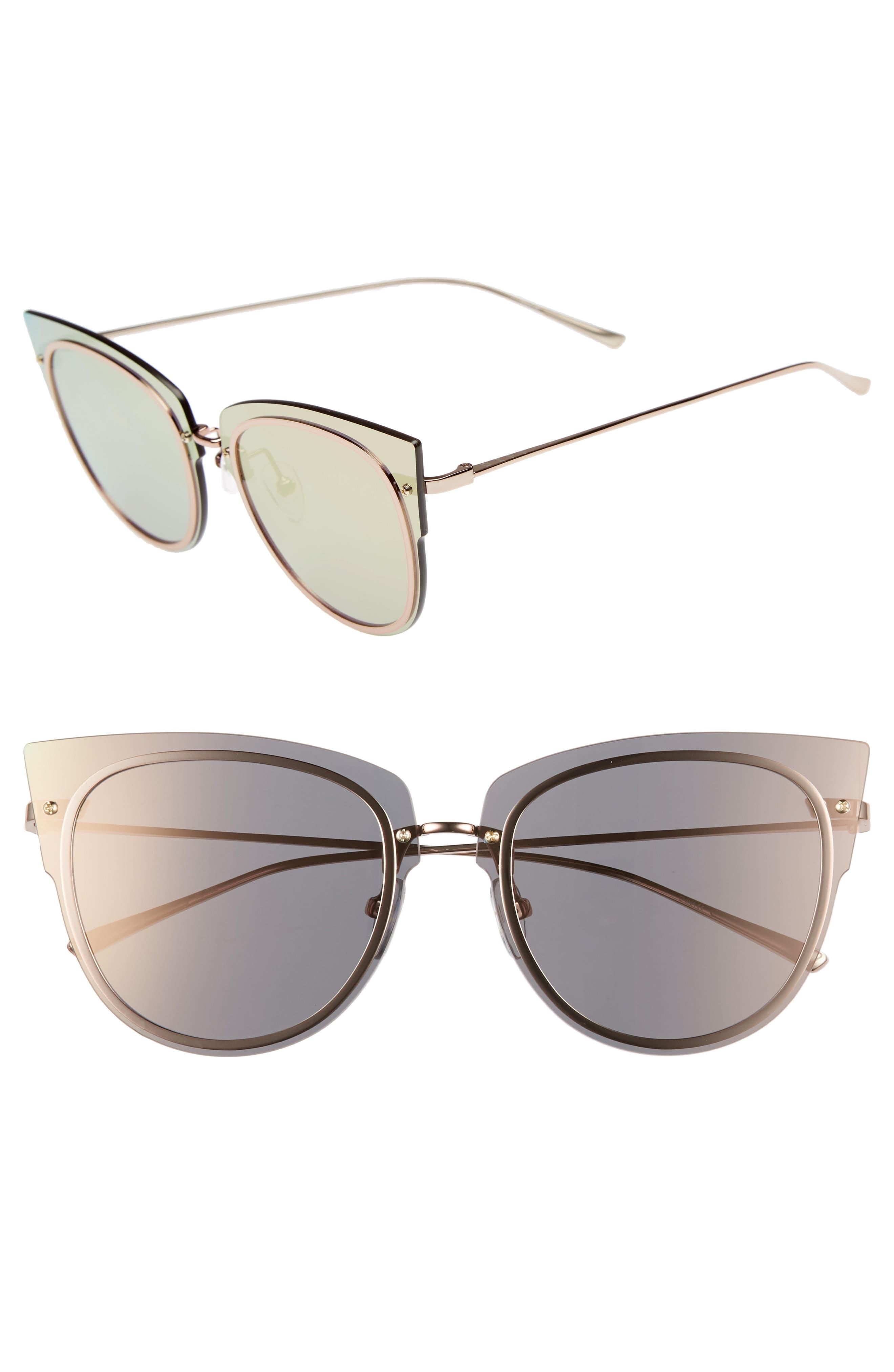 x Demi Lovato DEMI 50mm Rimless Cat Eye Sunglasses,                             Main thumbnail 1, color,                             GUNMETAL/ GREY