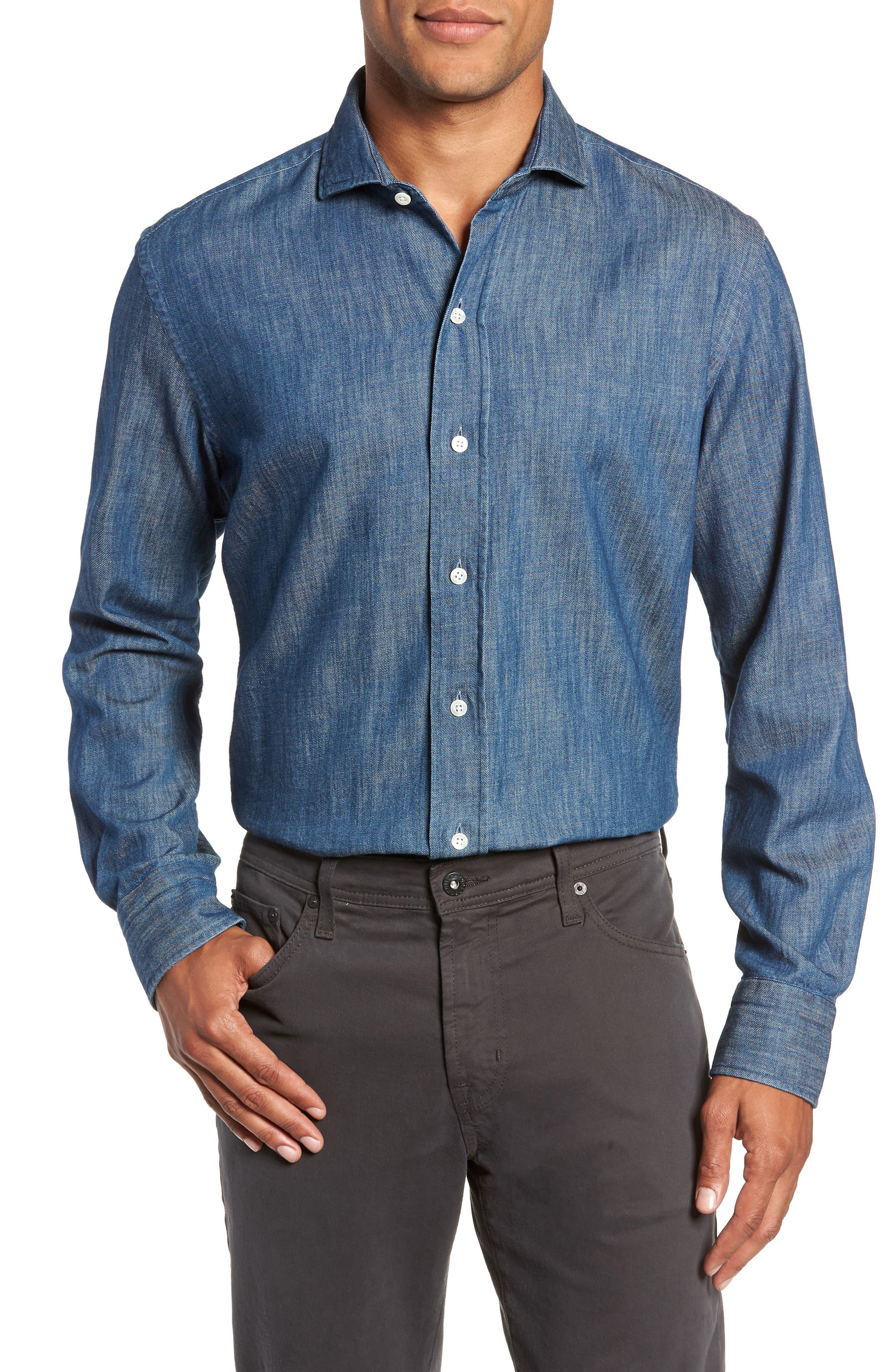 LEDBURY Greydon Trim Fit Denim Dress Shirt in Blue