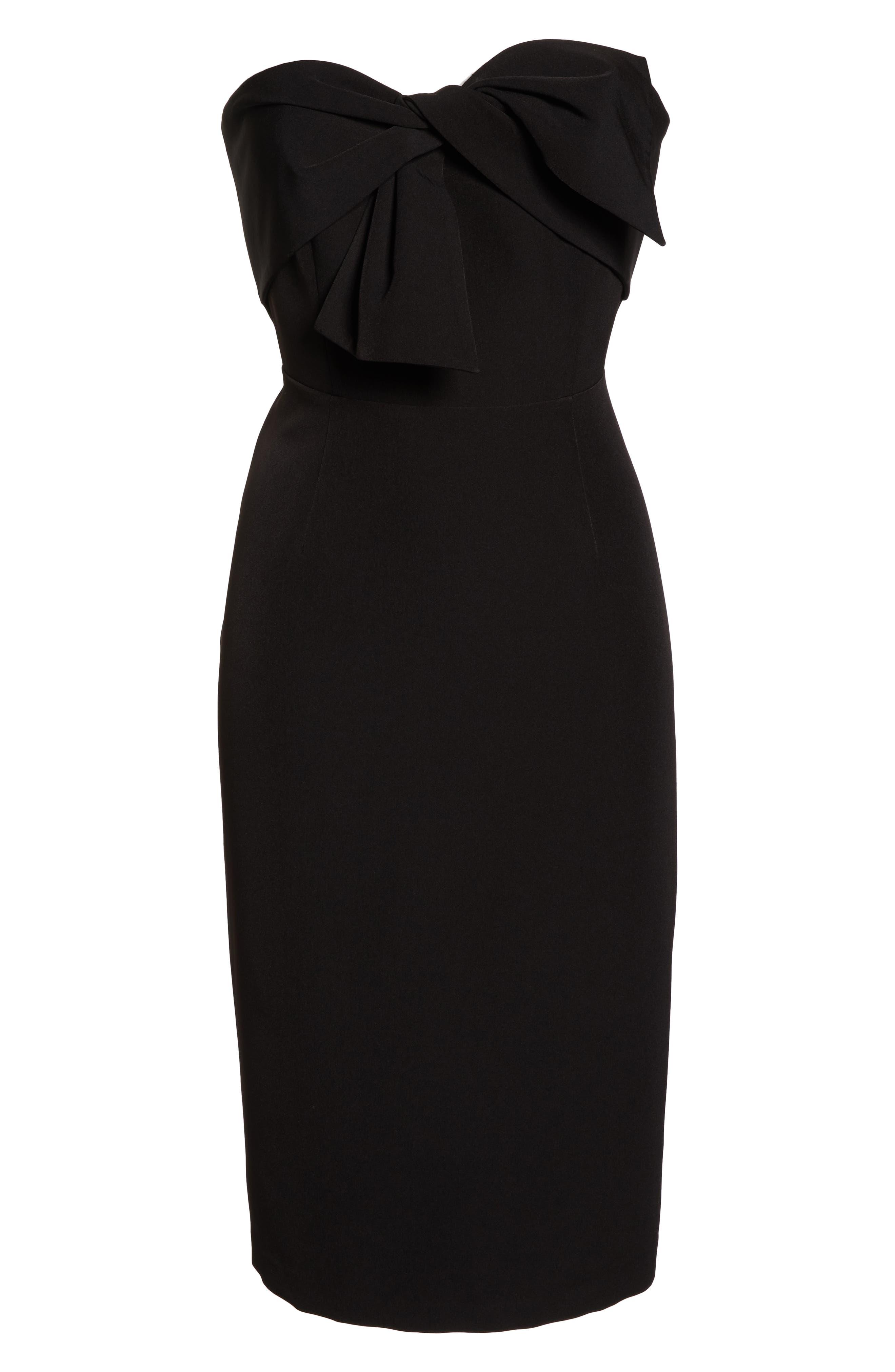 Strapless Bow Detail Sheath Dress,                             Alternate thumbnail 7, color,                             BLACK