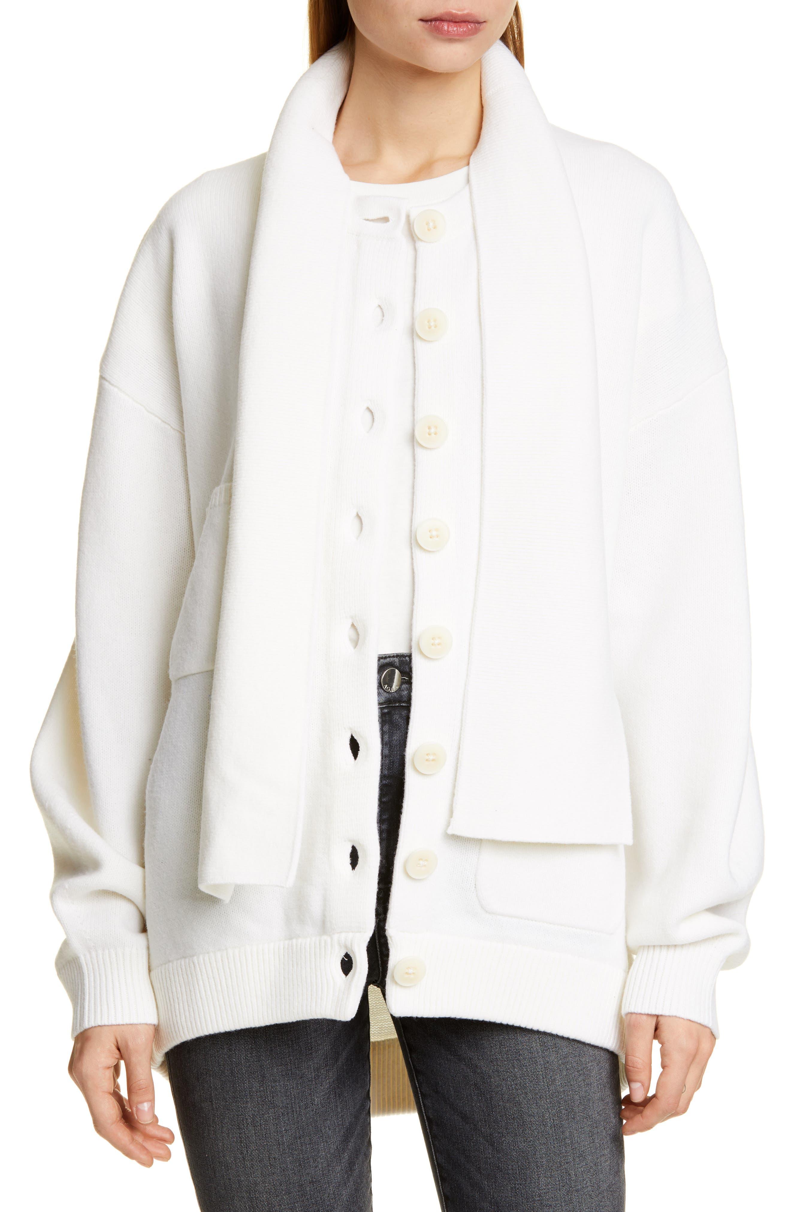 Tibi Tie Neck Merino Wool Blend Cardigan, Ivory