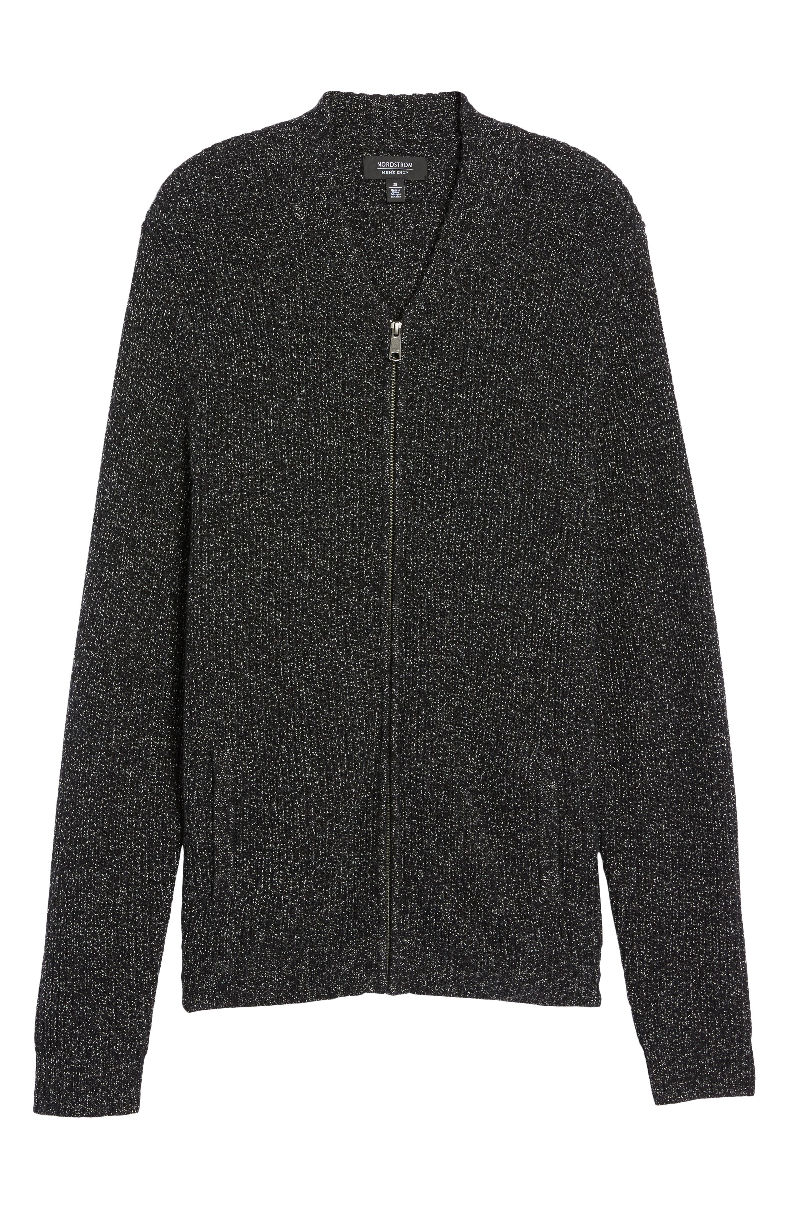Zip Front Cardigan,                             Alternate thumbnail 6, color,                             001