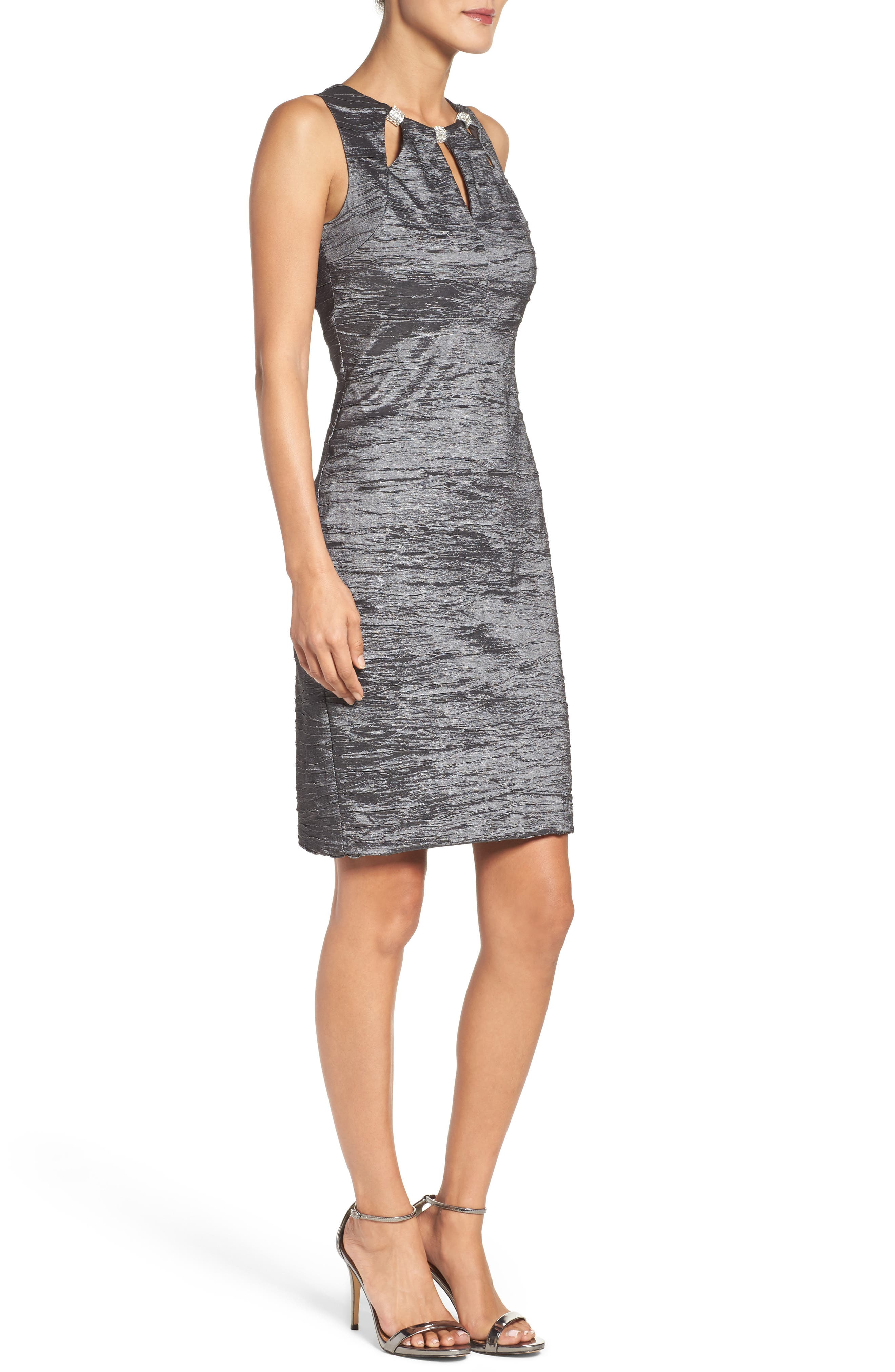 Embellished Cutout Taffeta Sheath Dress,                             Alternate thumbnail 3, color,                             CHARCOAL