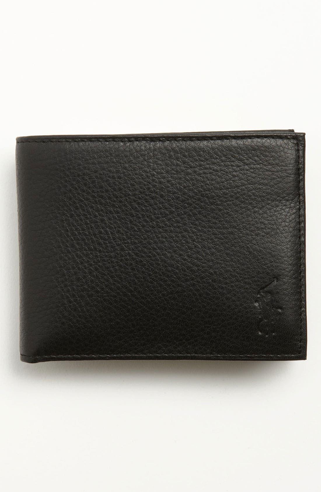 Leather Passcase Wallet,                             Main thumbnail 1, color,                             BLACK