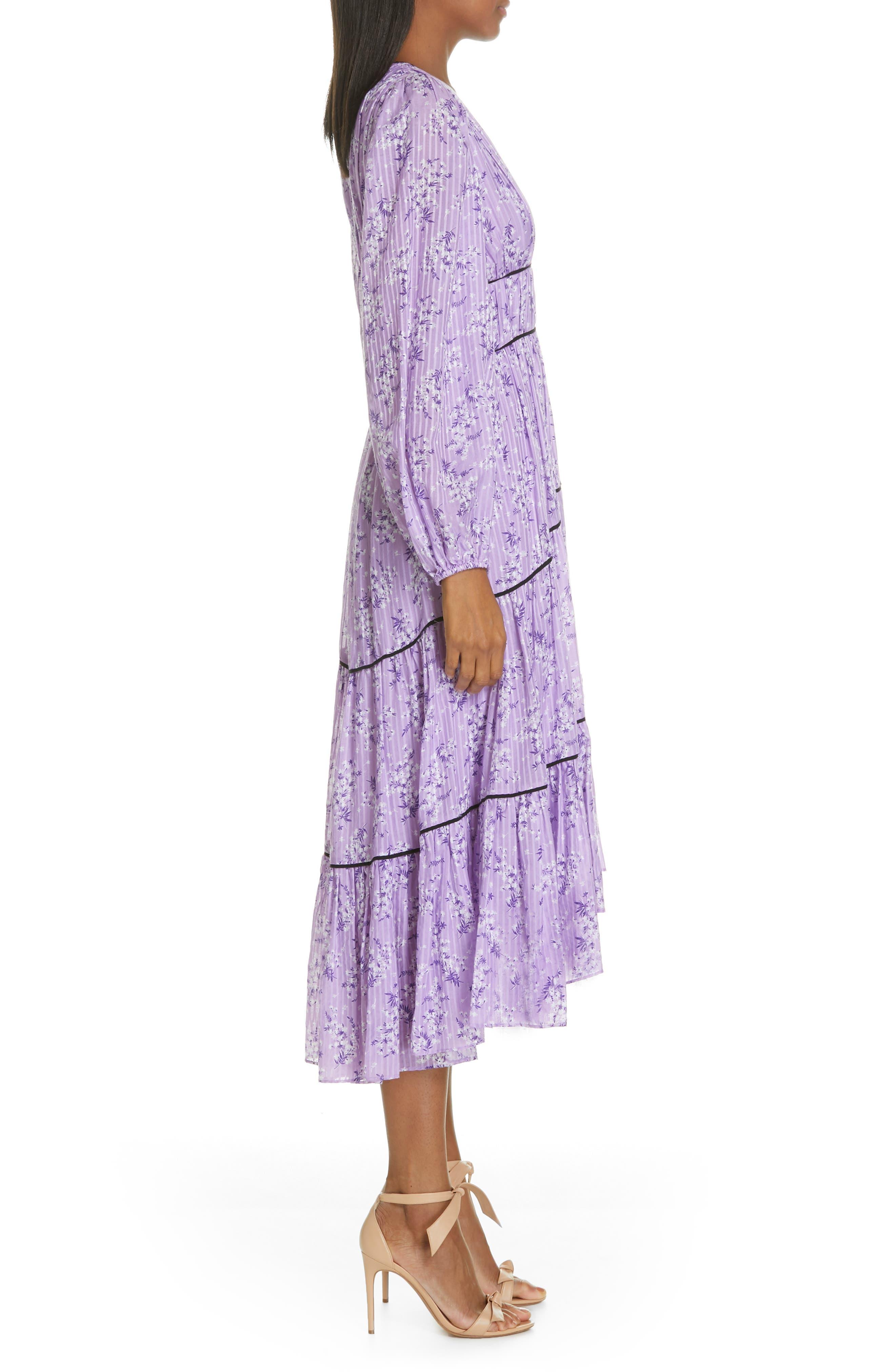 Joan Floral Print Cotton & Silk Midi Dress,                             Alternate thumbnail 3, color,                             LILAC