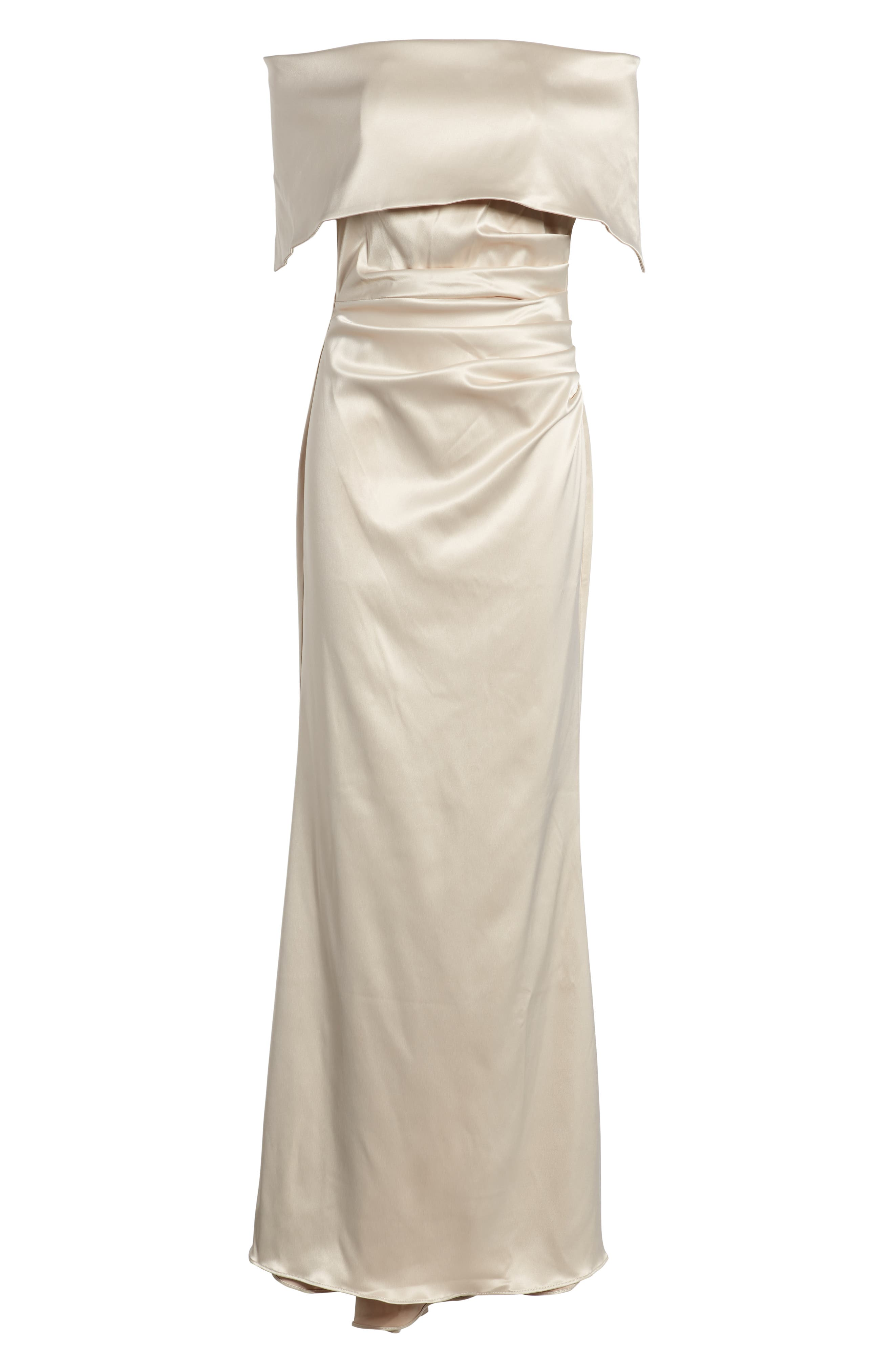 Off the Shoulder Gown,                             Alternate thumbnail 7, color,                             CHAMPAGNE