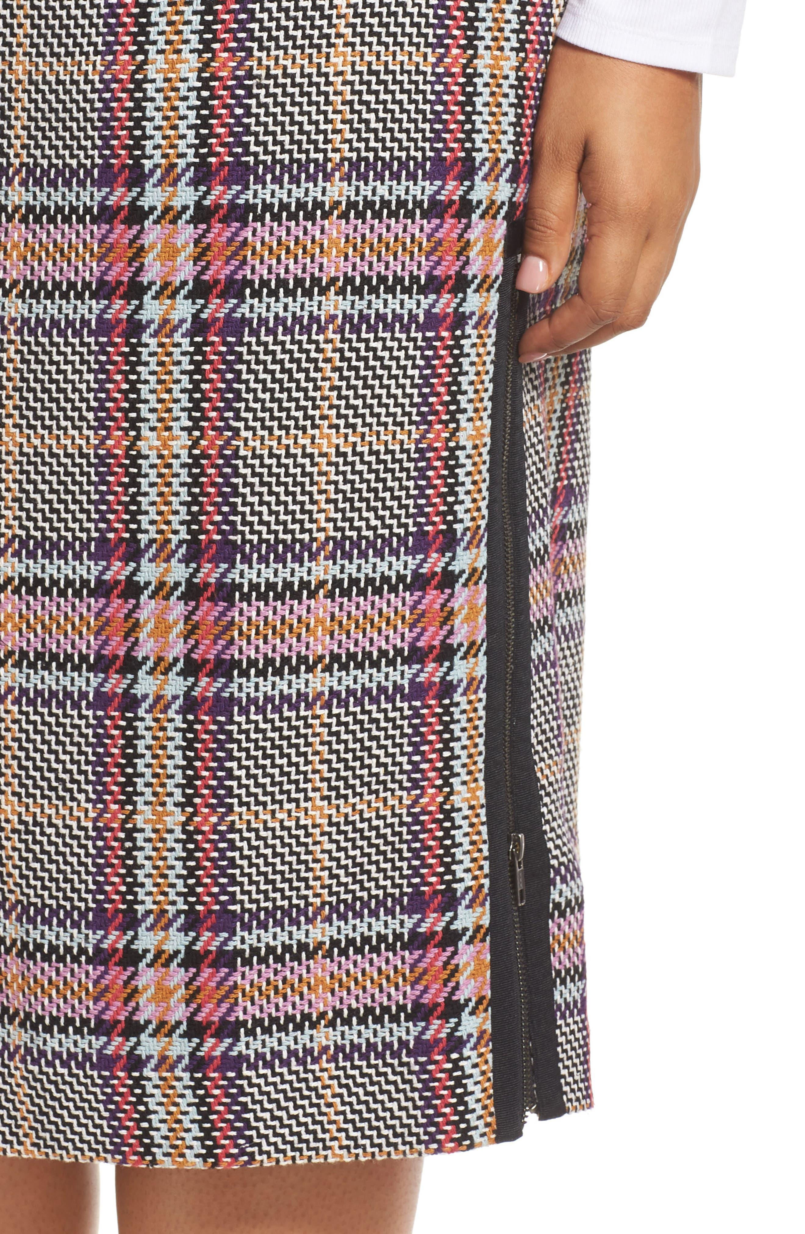 Plaid Pencil Skirt,                             Alternate thumbnail 4, color,                             530