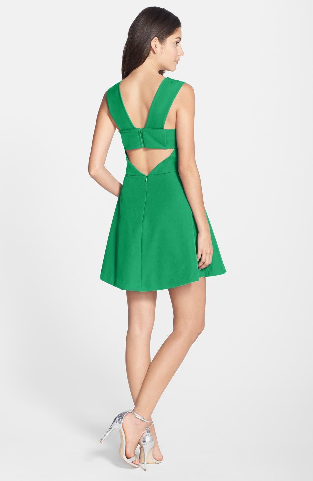 Bianca Back Cutout Fit & Flare Dress,                             Alternate thumbnail 19, color,