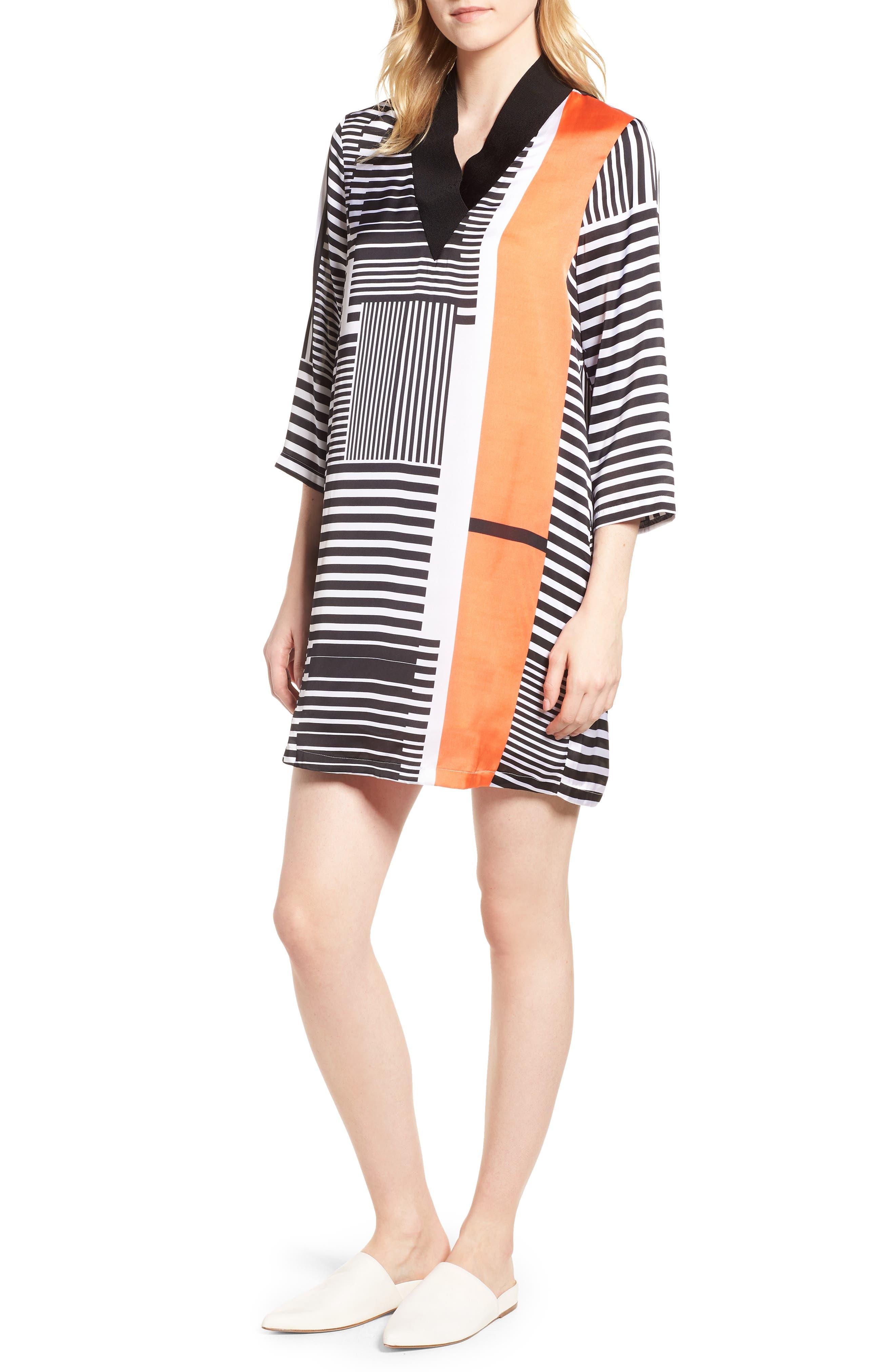 Mix Stripe V-Neck Shift Dress,                             Alternate thumbnail 6, color,                             800