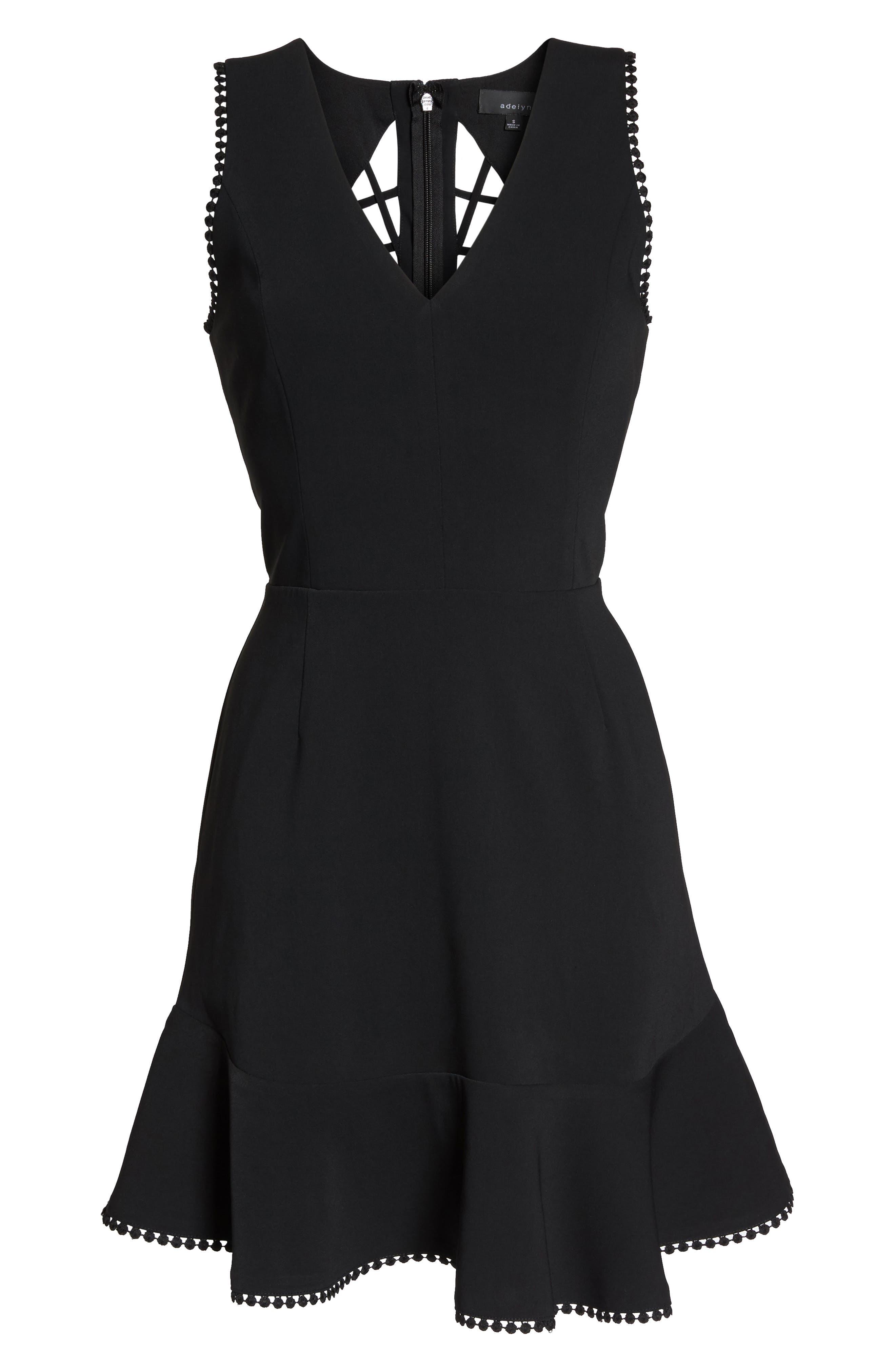 Zahara Cutout Fit & Flare Dress,                             Alternate thumbnail 6, color,                             001