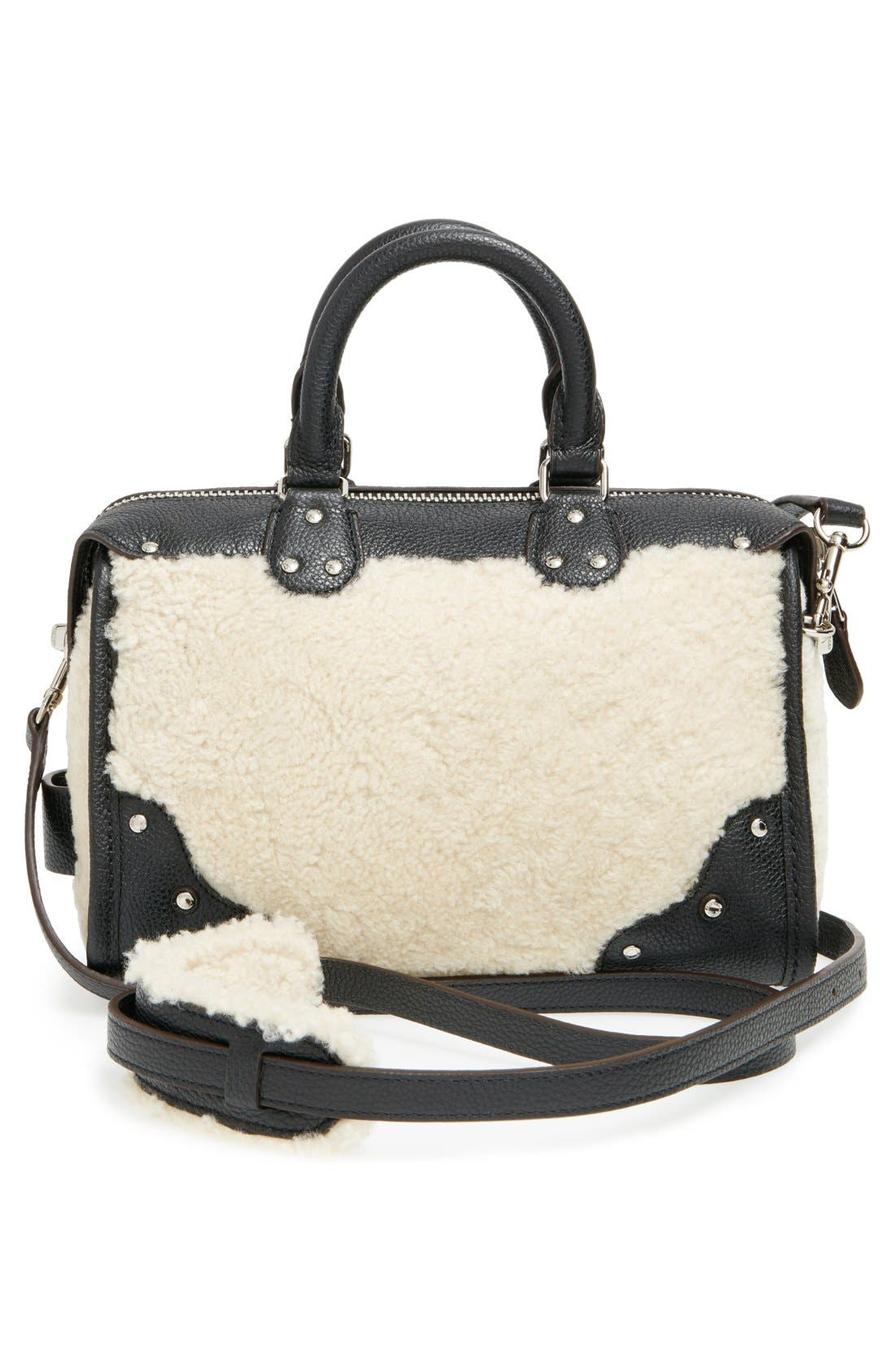 COACH,                             'Rhyder 24' Genuine Shearling & Leather Satchel,                             Alternate thumbnail 5, color,                             900