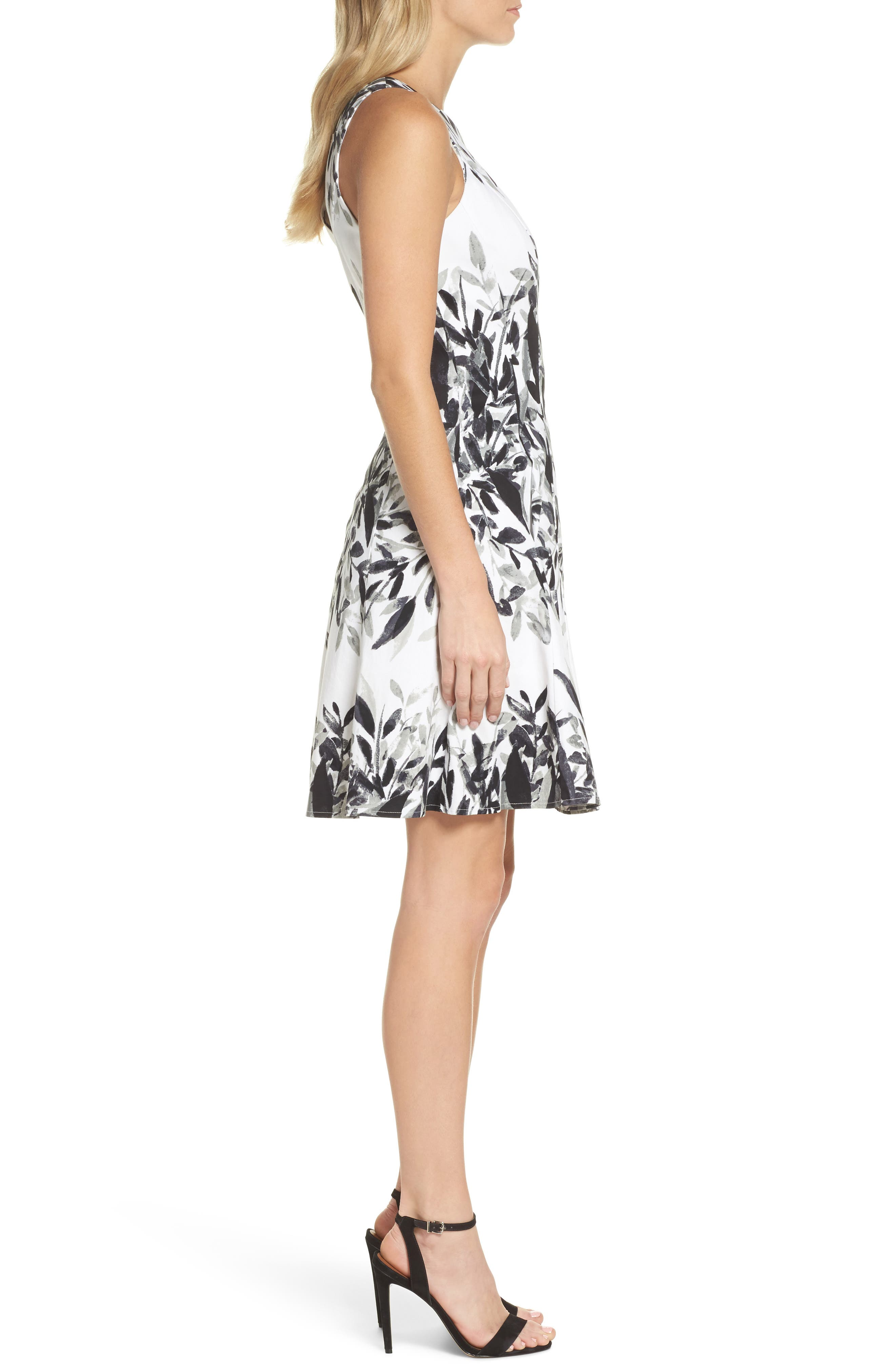 Sateen Fit & Flare Dress,                             Alternate thumbnail 3, color,                             110