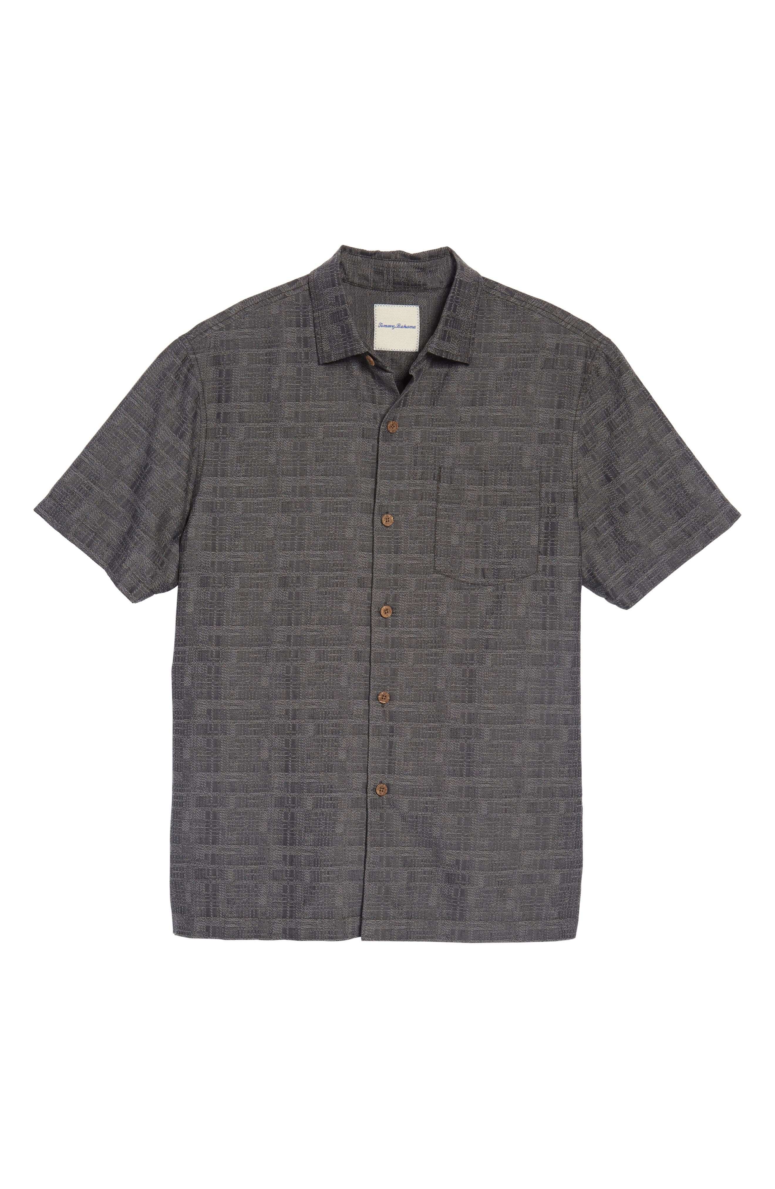 Getaway Grid Silk Blend Camp Shirt,                             Alternate thumbnail 6, color,                             001