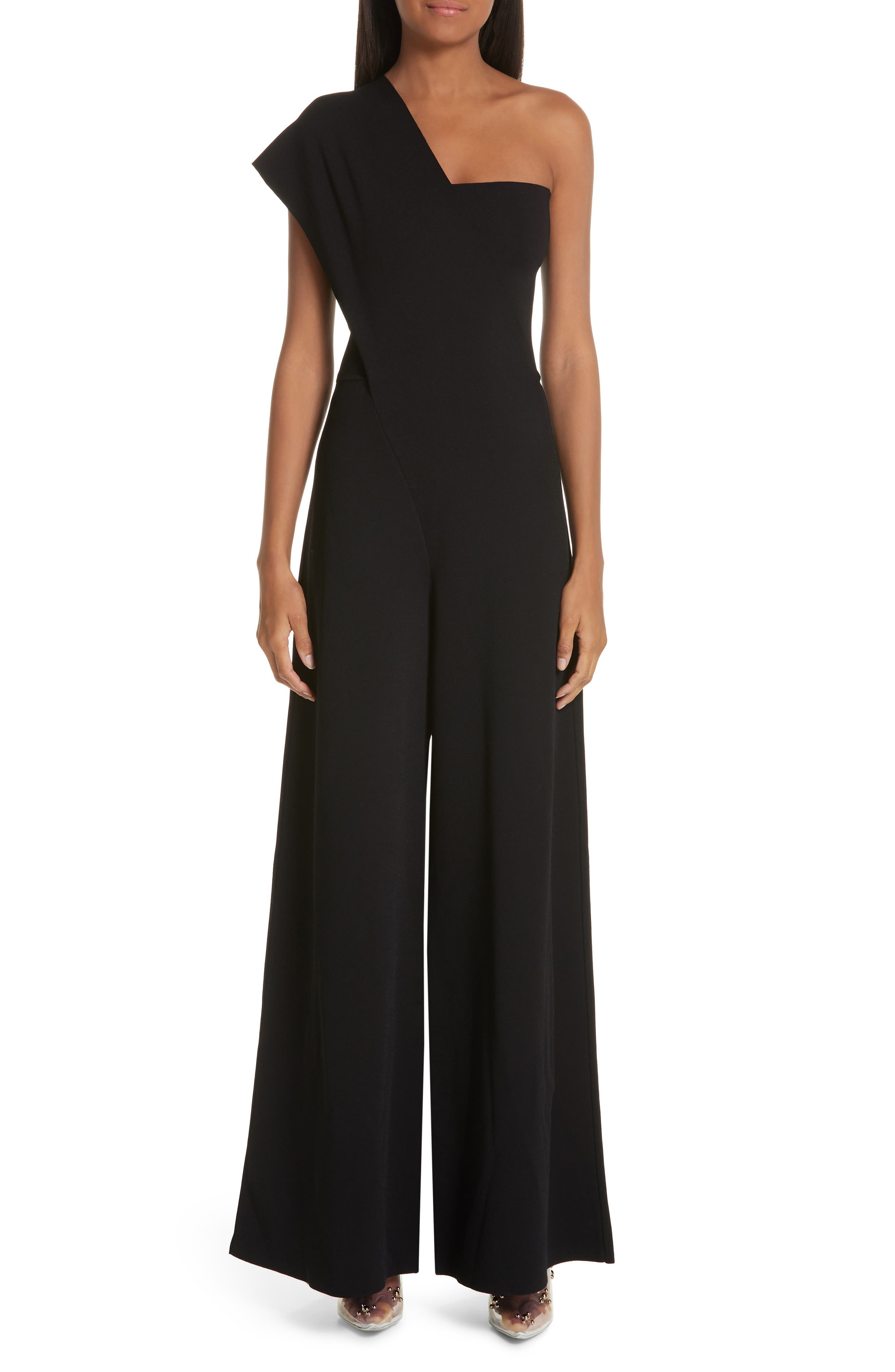 One-Shoulder Wide Leg Knit Jumpsuit,                         Main,                         color, BLACK
