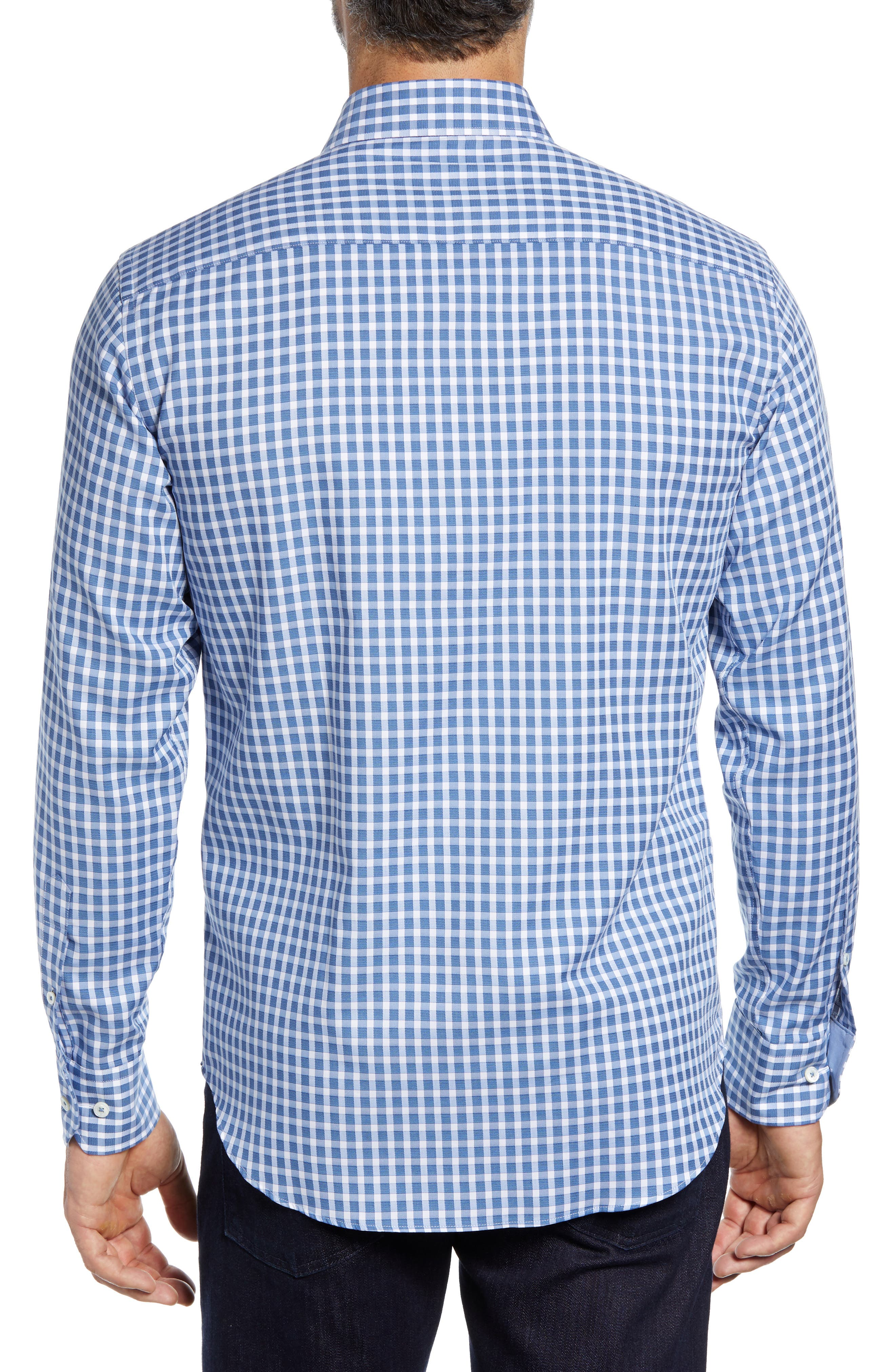 Shaped Fit Check Sport Shirt,                             Alternate thumbnail 3, color,                             AIR BLUE