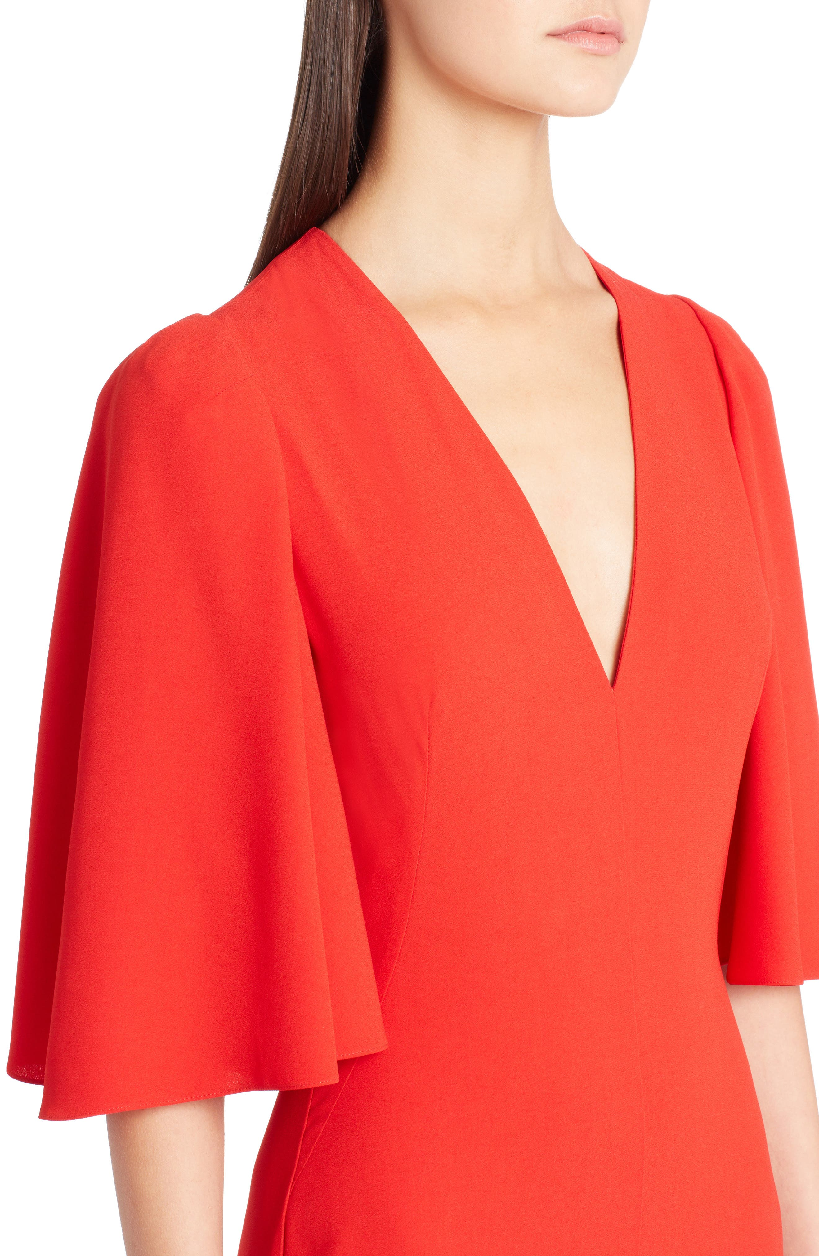 Cape Sleeve Satin Crepe Gown,                             Alternate thumbnail 4, color,                             LUST RED
