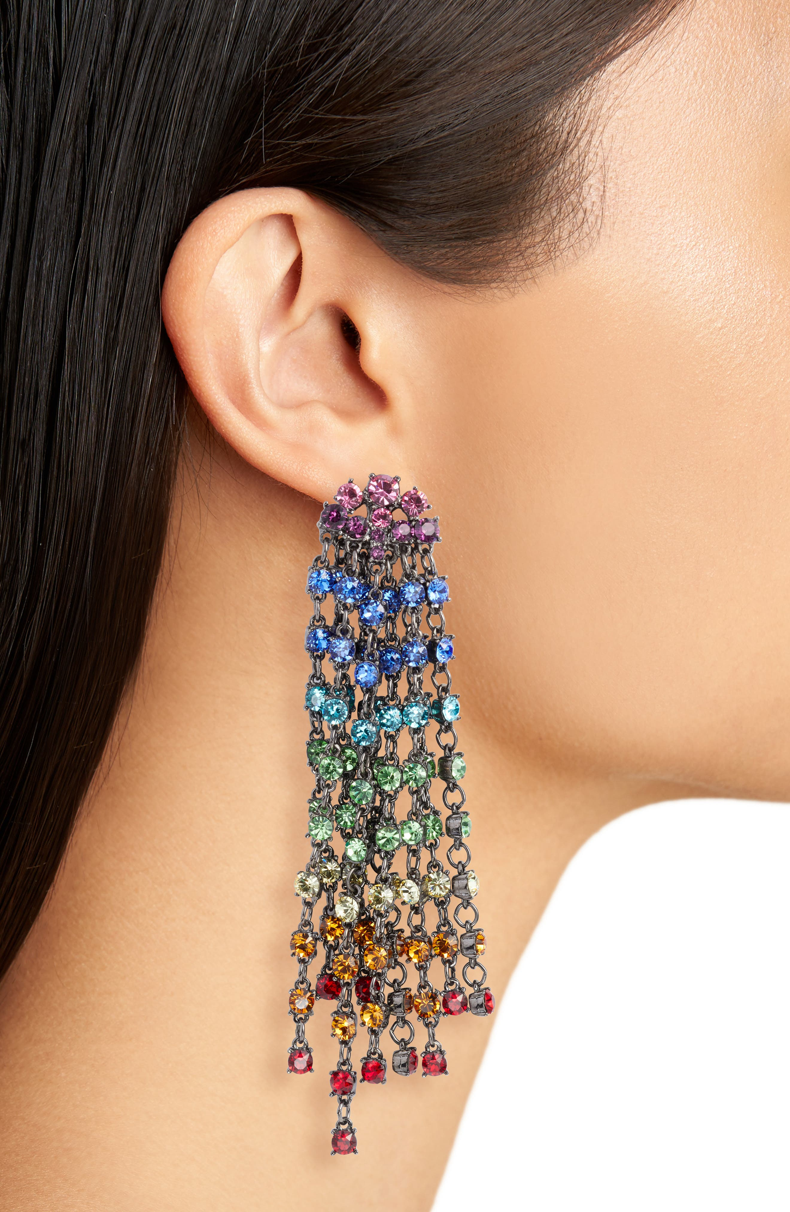 Crystal Cascade Waterfall Drop Earrings,                             Alternate thumbnail 2, color,                             600