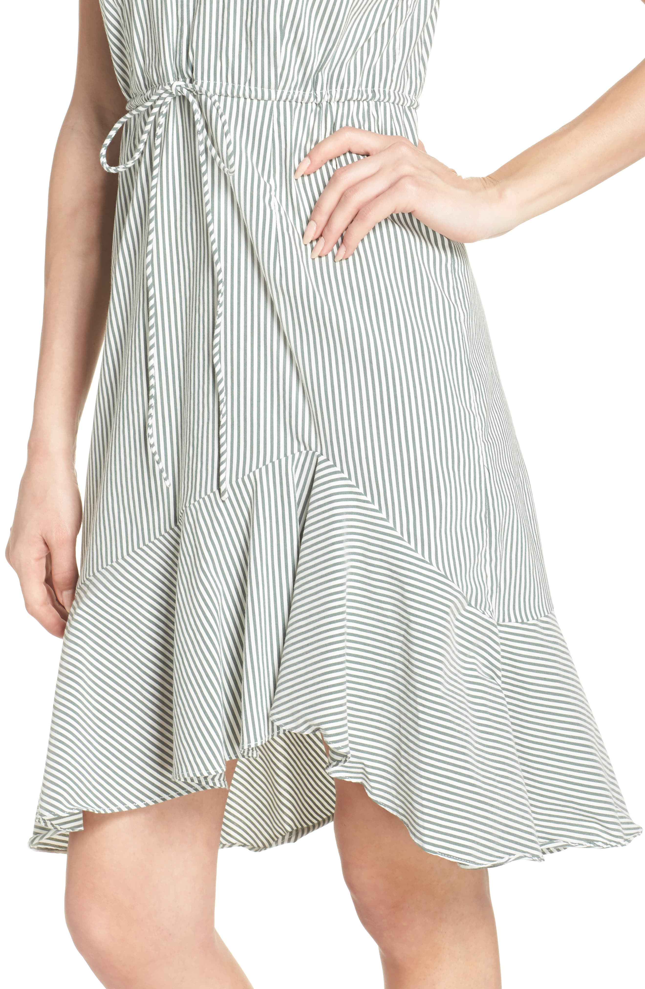 Stripe High/Low Dress,                             Alternate thumbnail 4, color,                             394