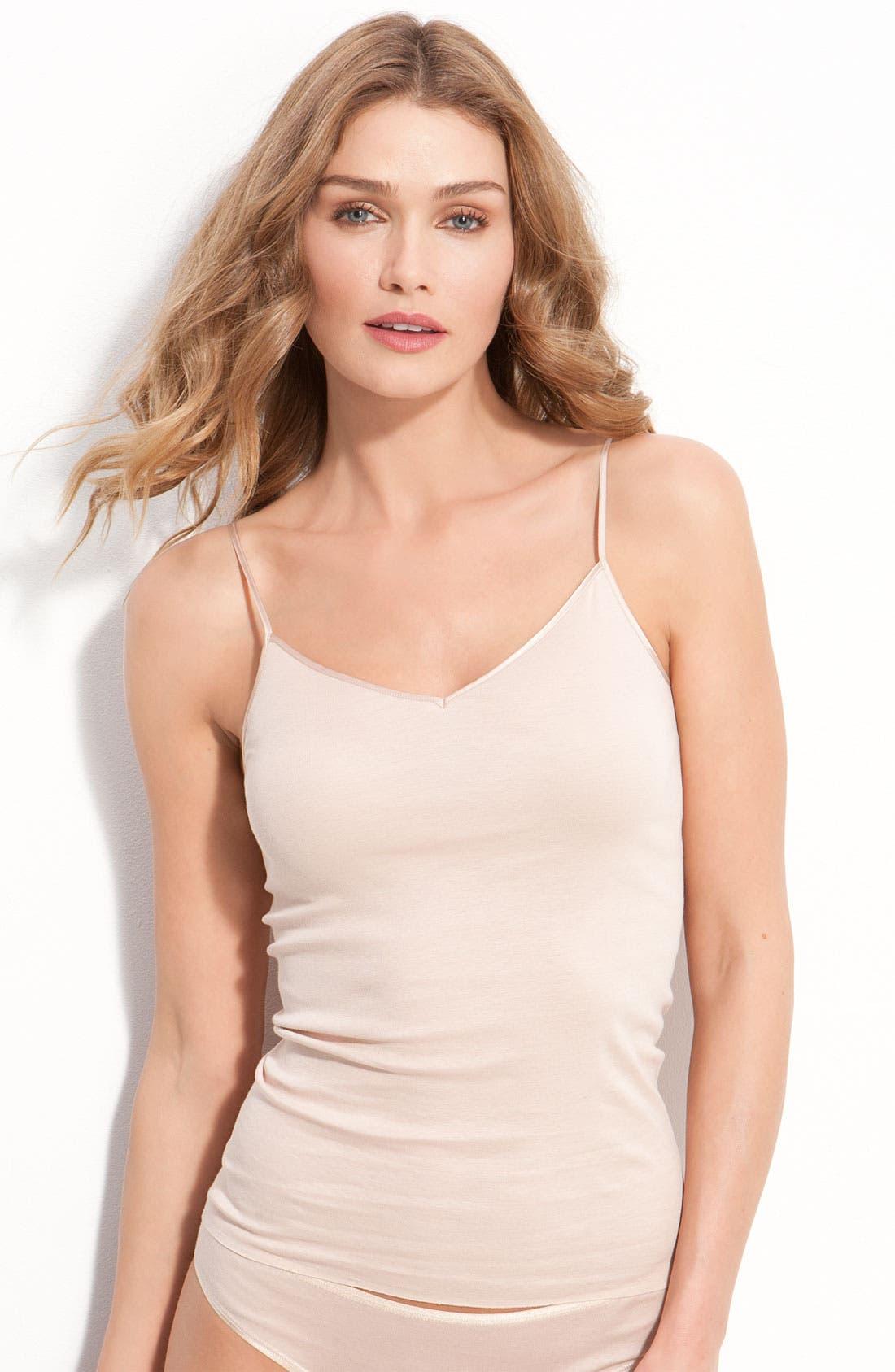 Hanro Seamless V-Neck Cotton Camisole, Beige