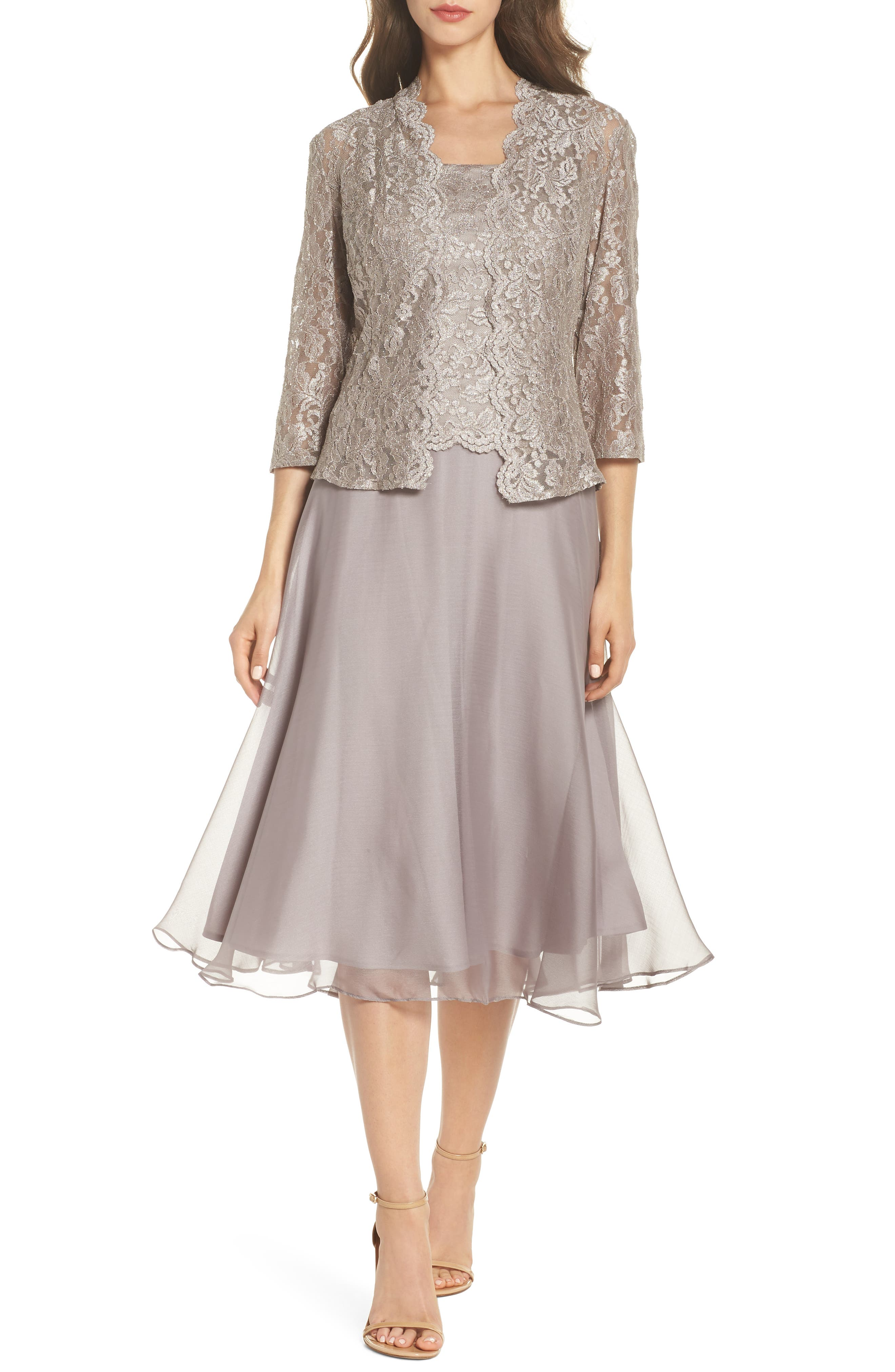 Petite Alex Evenings Lace Bodice Tea Length Dress With Jacket, Grey