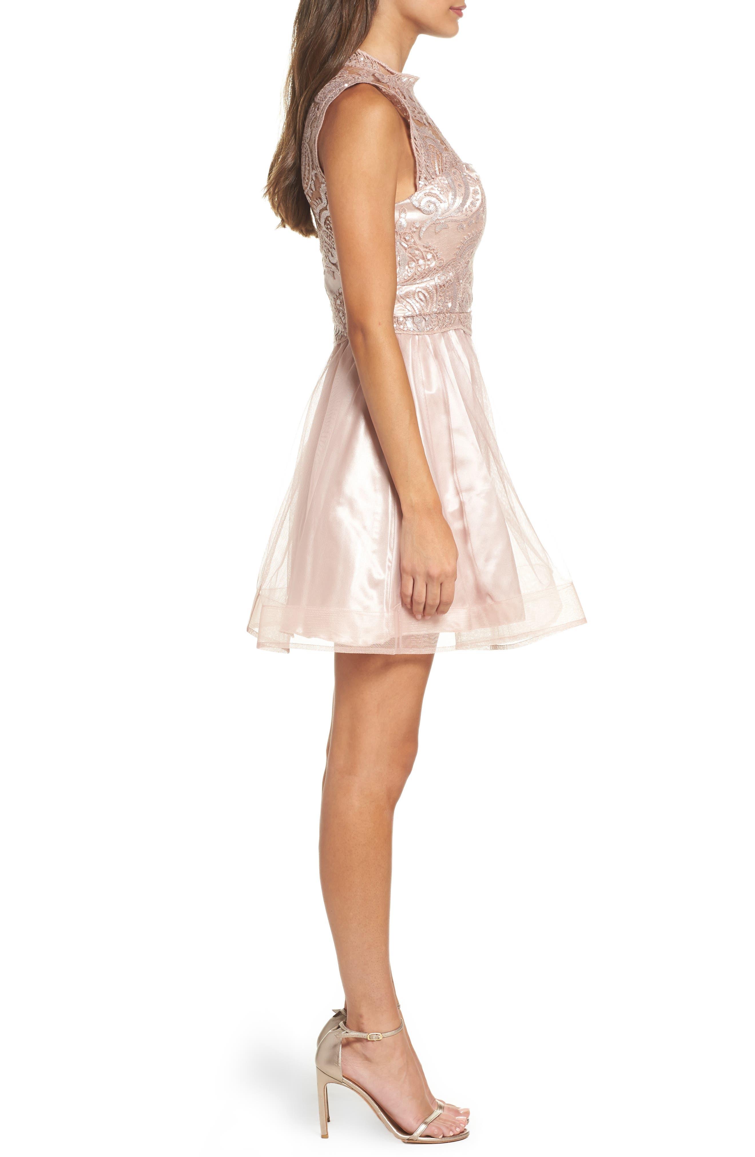 Lace Illusion Fit & Flare Dress,                             Alternate thumbnail 3, color,                             510