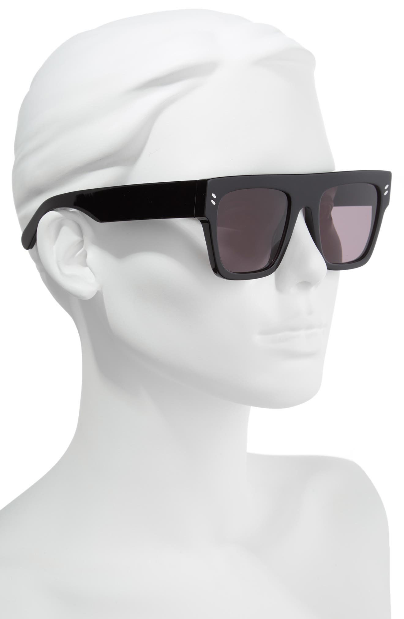 51mm Flattop Sunglasses,                             Alternate thumbnail 2, color,                             BLACK