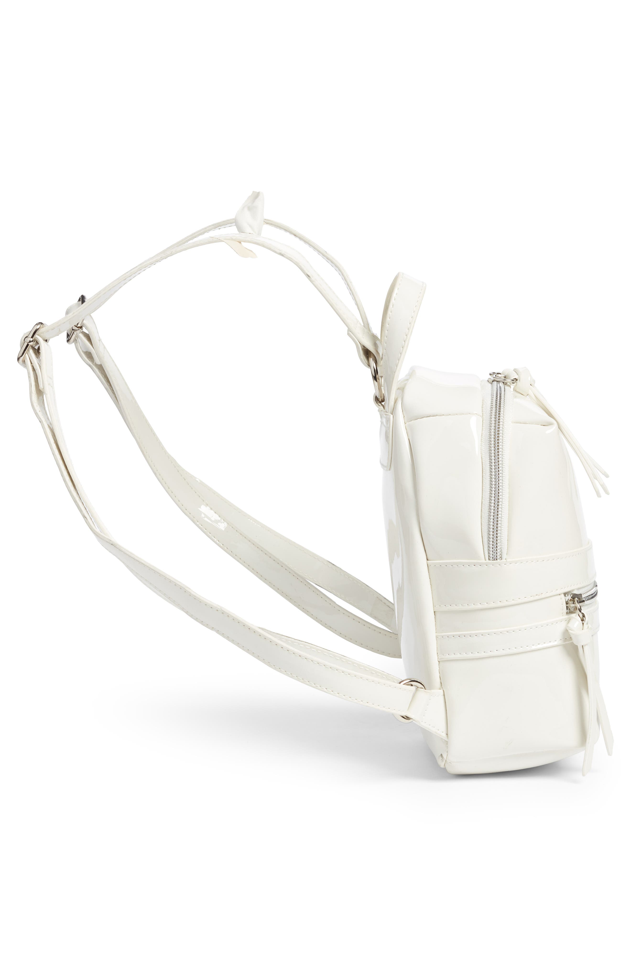 Faux Patent Leather Mini Backpack,                             Alternate thumbnail 5, color,                             100