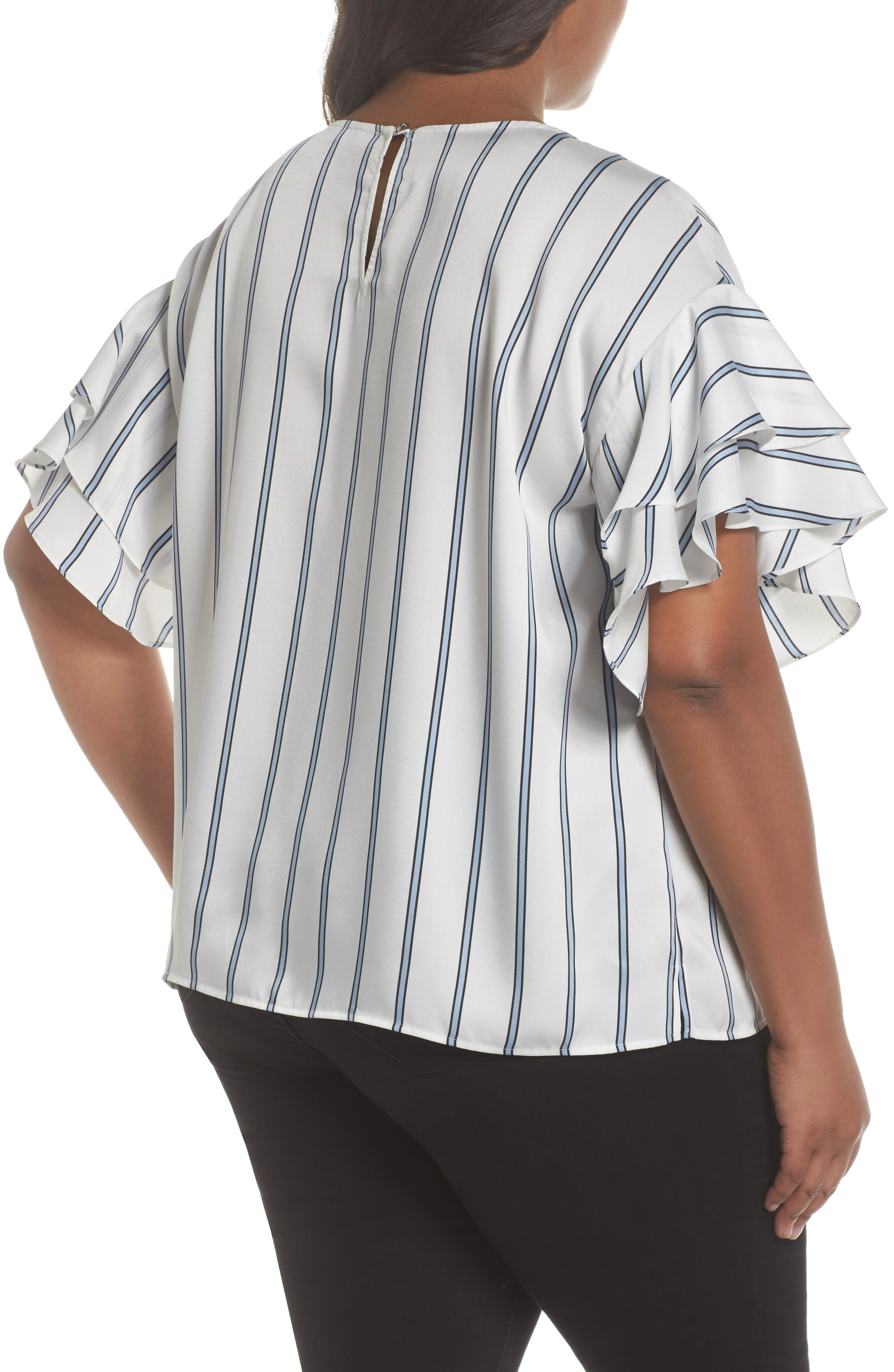 Tiered Ruffle Sleeve Stripe Top,                             Alternate thumbnail 4, color,