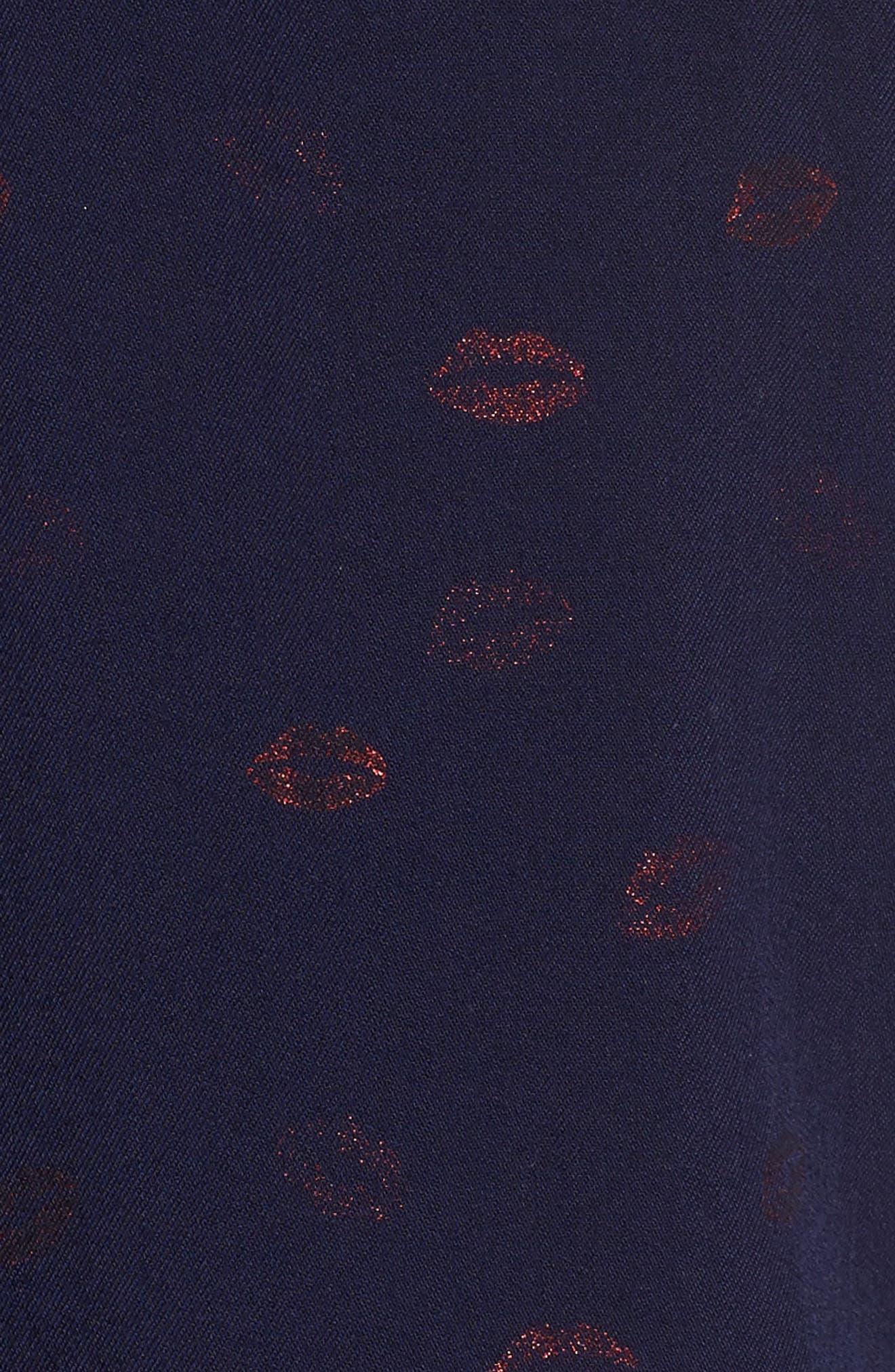 Rocsi Print Blouse,                             Alternate thumbnail 5, color,                             KISS ME METALLIC