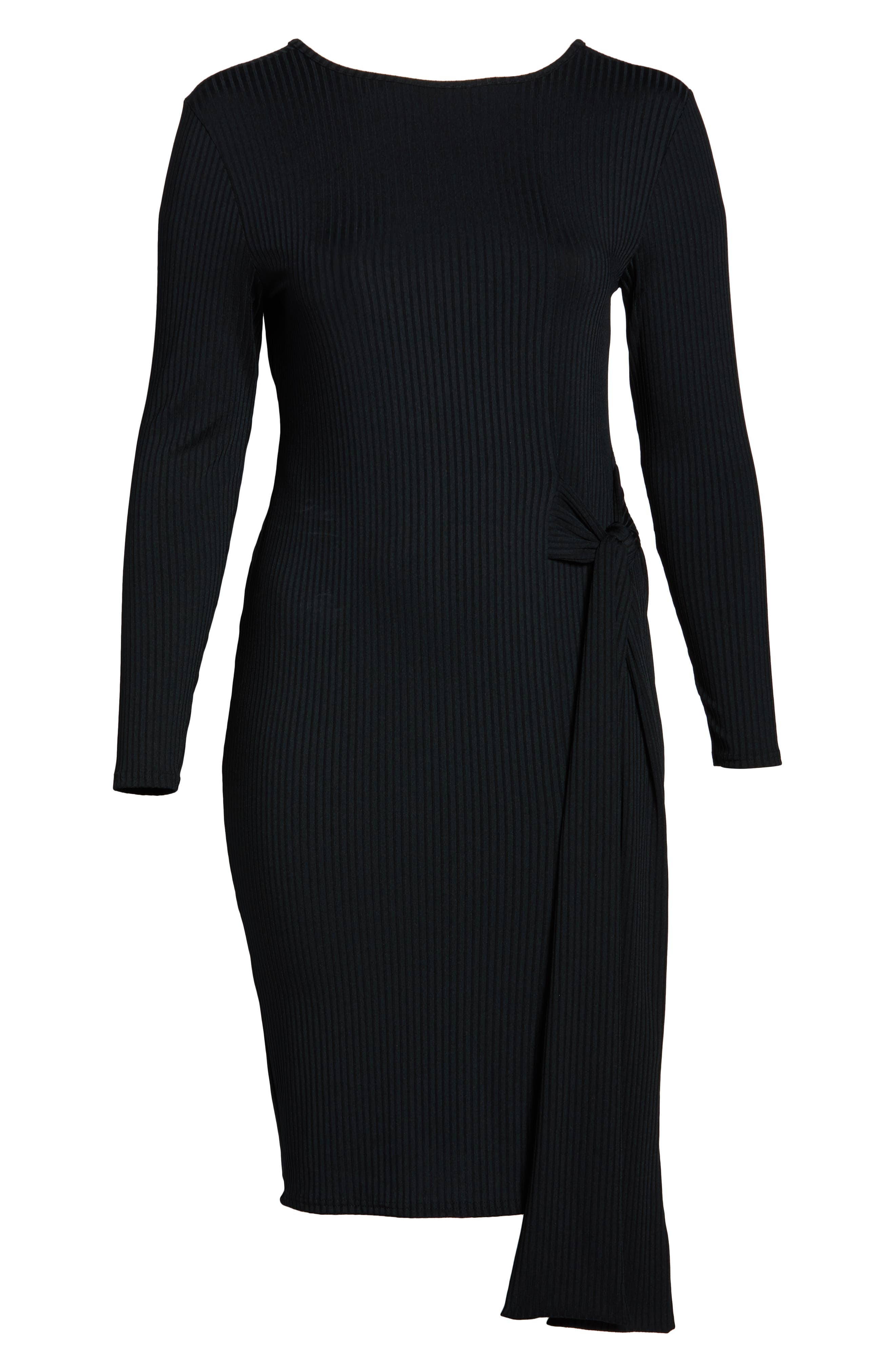 Ribbed Tie Body-Con Dress,                             Alternate thumbnail 7, color,                             001