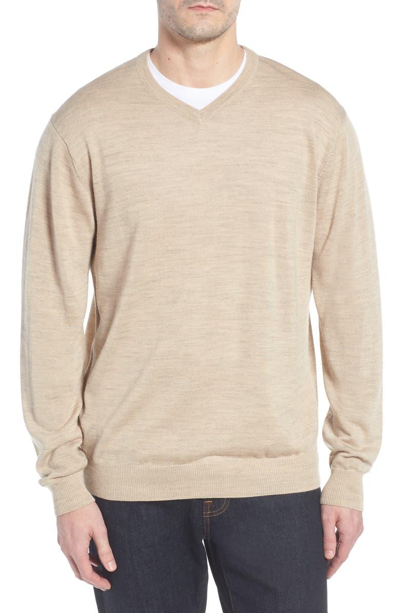 Cutter Amp Buck Douglas Merino Wool Blend V Neck Sweater