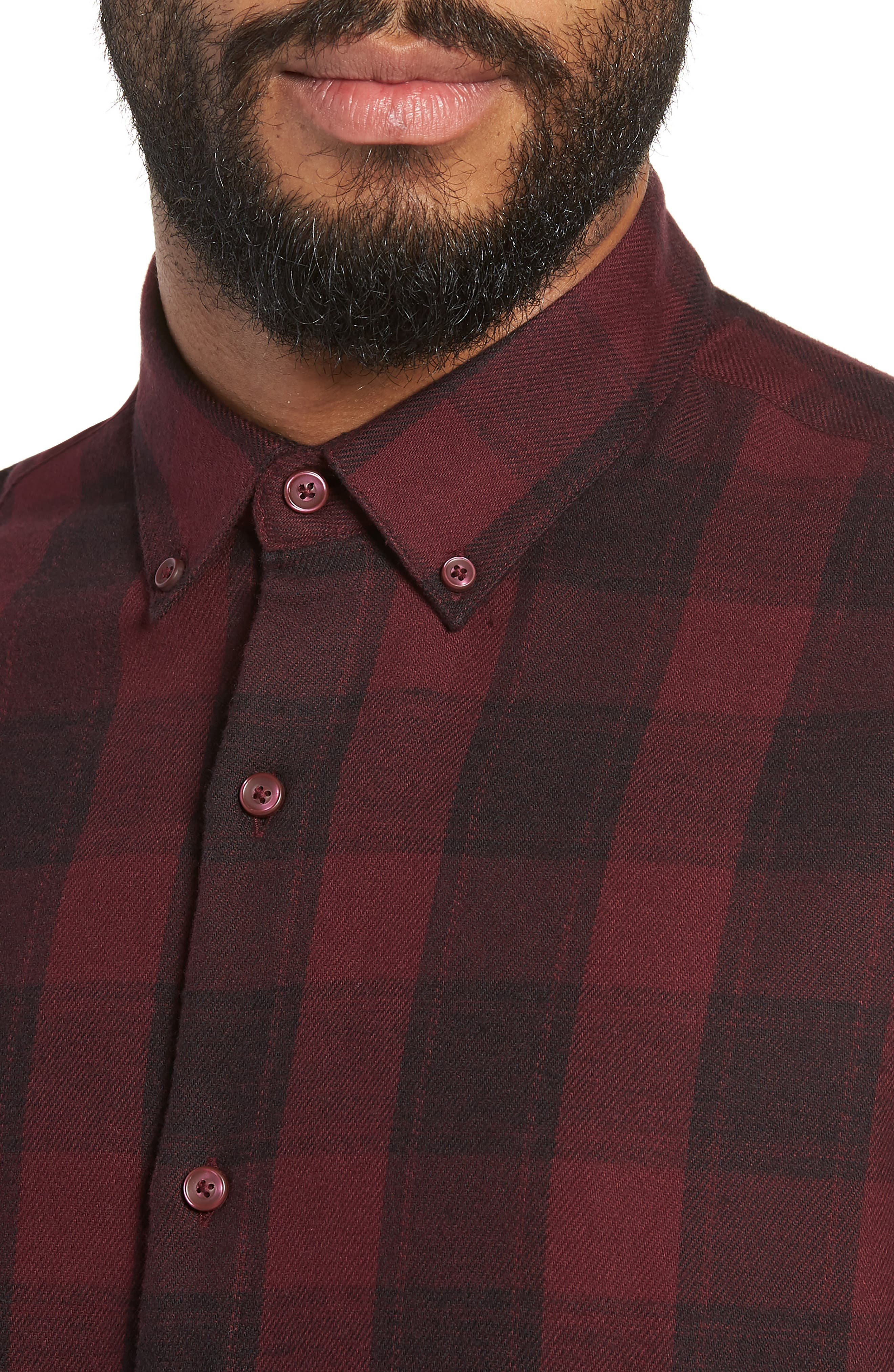 Slim Fit Mini Collar Check Flannel Sport Shirt,                             Alternate thumbnail 2, color,                             930