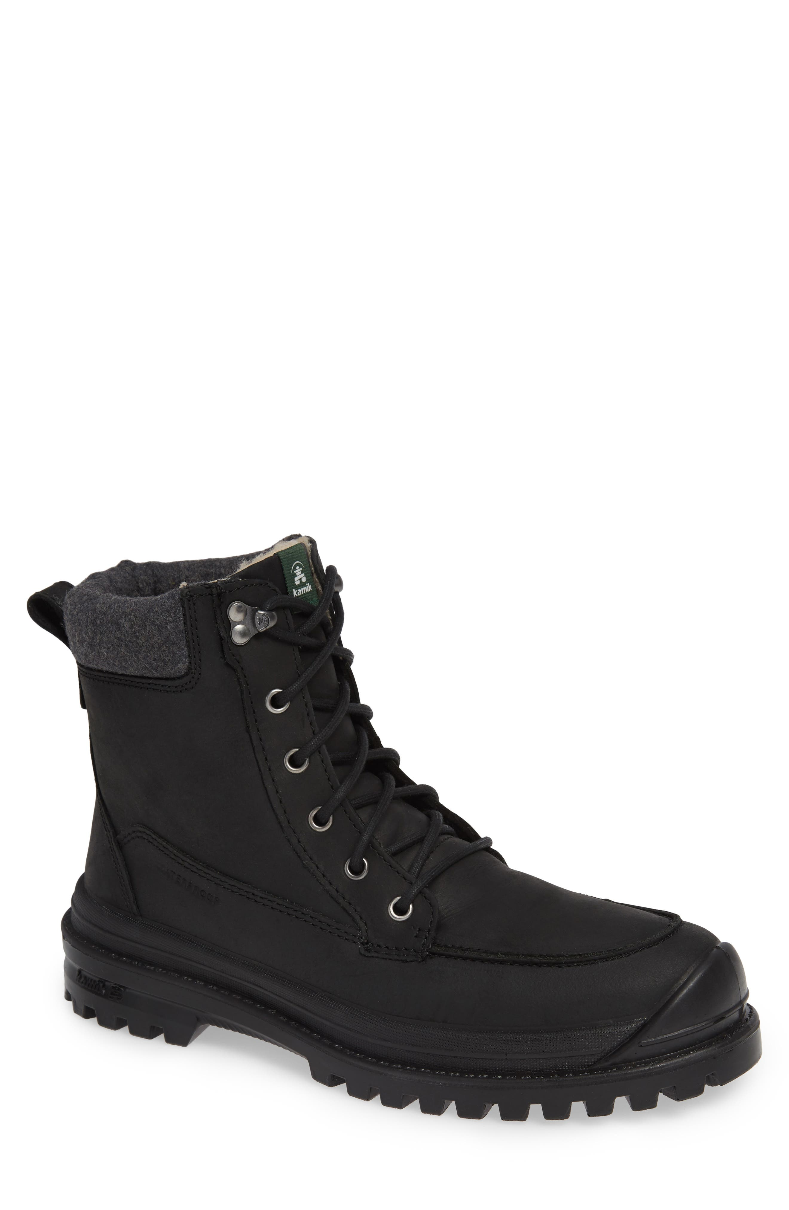 Griffon2 Snow Waterproof Boot with Faux Shearling,                         Main,                         color, BLACK/ BLACK LEATHER