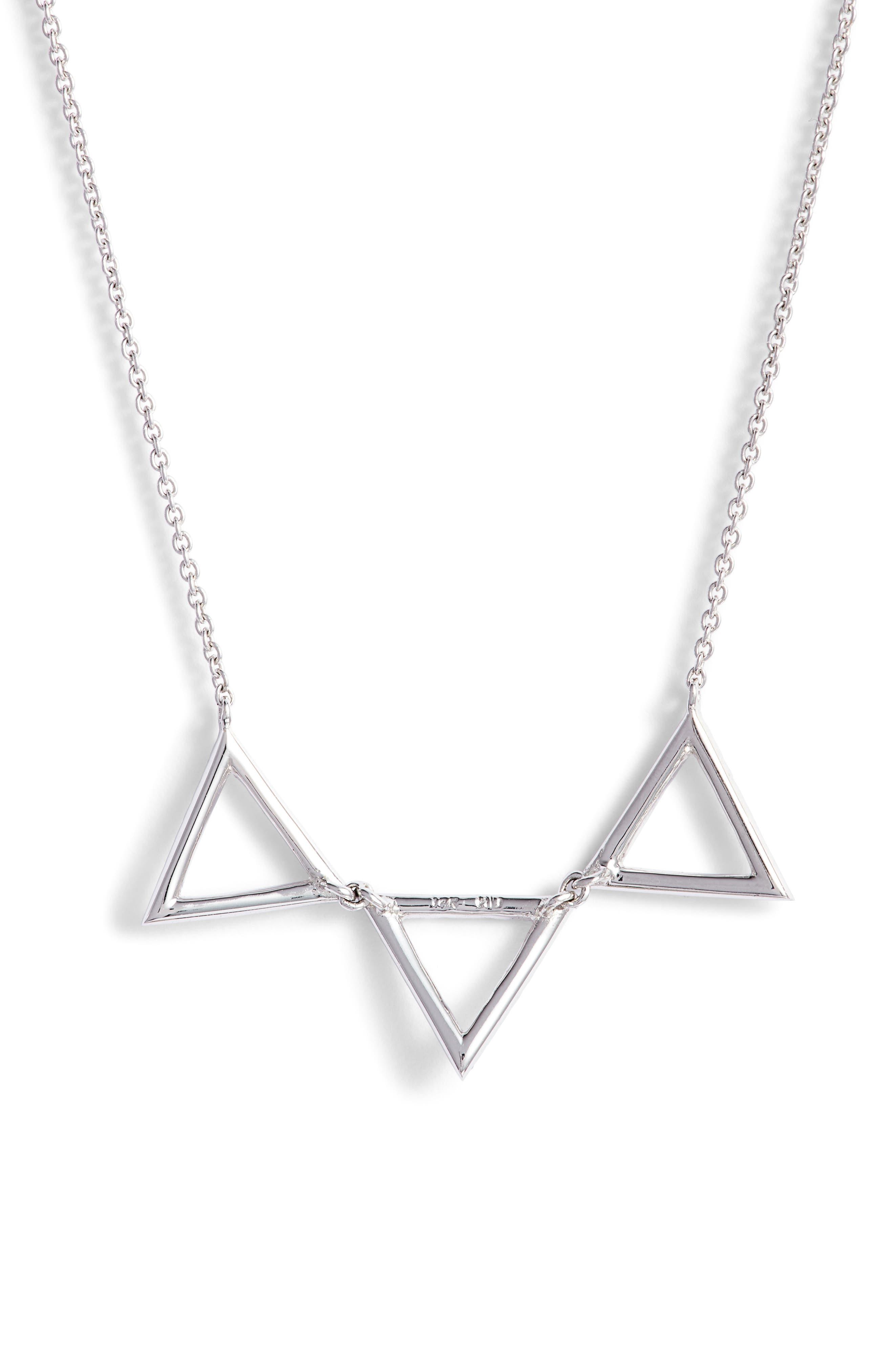 Three Triangle Diamond Pendant Necklace,                             Alternate thumbnail 5, color,                             WHITE GOLD