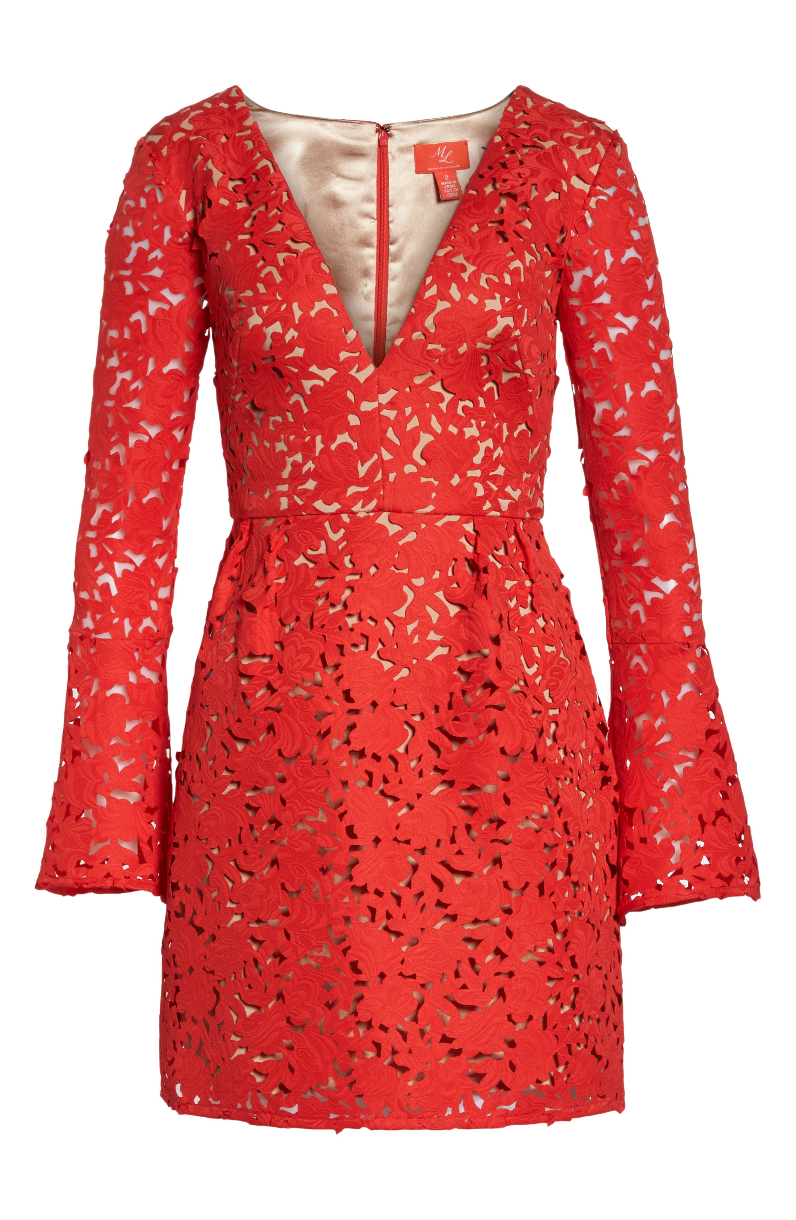 Lazercut Bell Sleeve Fit & Flare Dress,                             Alternate thumbnail 7, color,                             643