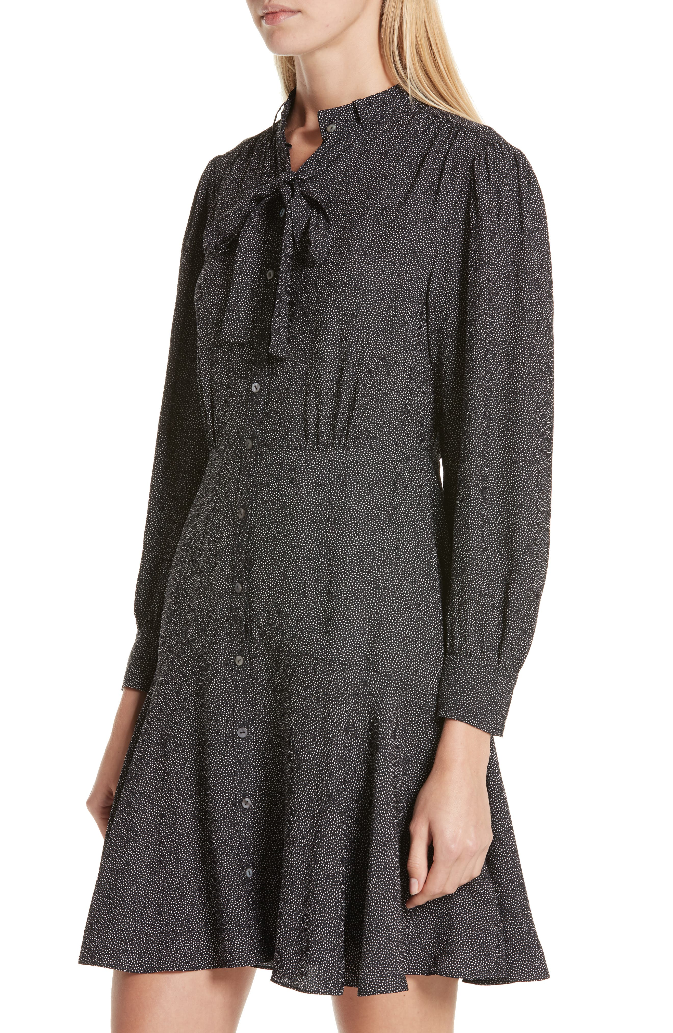 Sprinkle Dot Tie Neck Silk Dress,                             Alternate thumbnail 4, color,                             BLACK