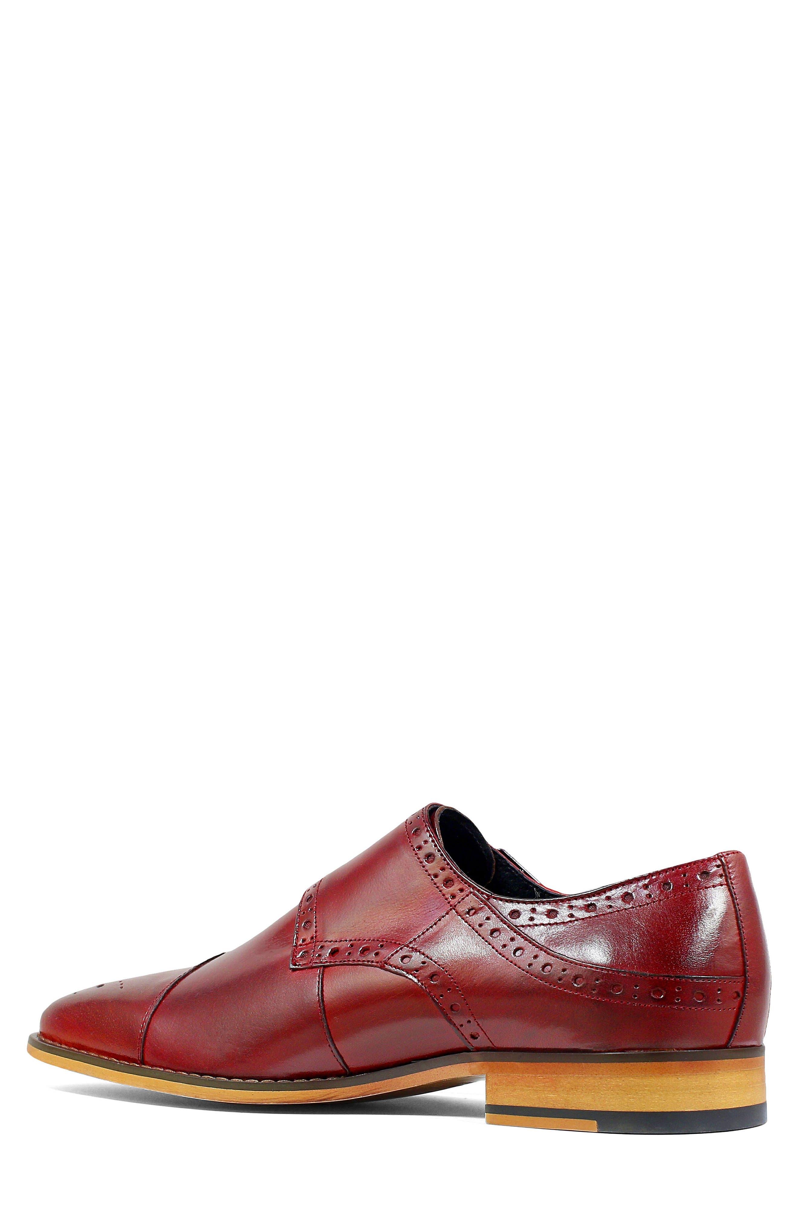 Tayton Cap Toe Double Strap Monk Shoe,                             Alternate thumbnail 2, color,                             RED LEATHER