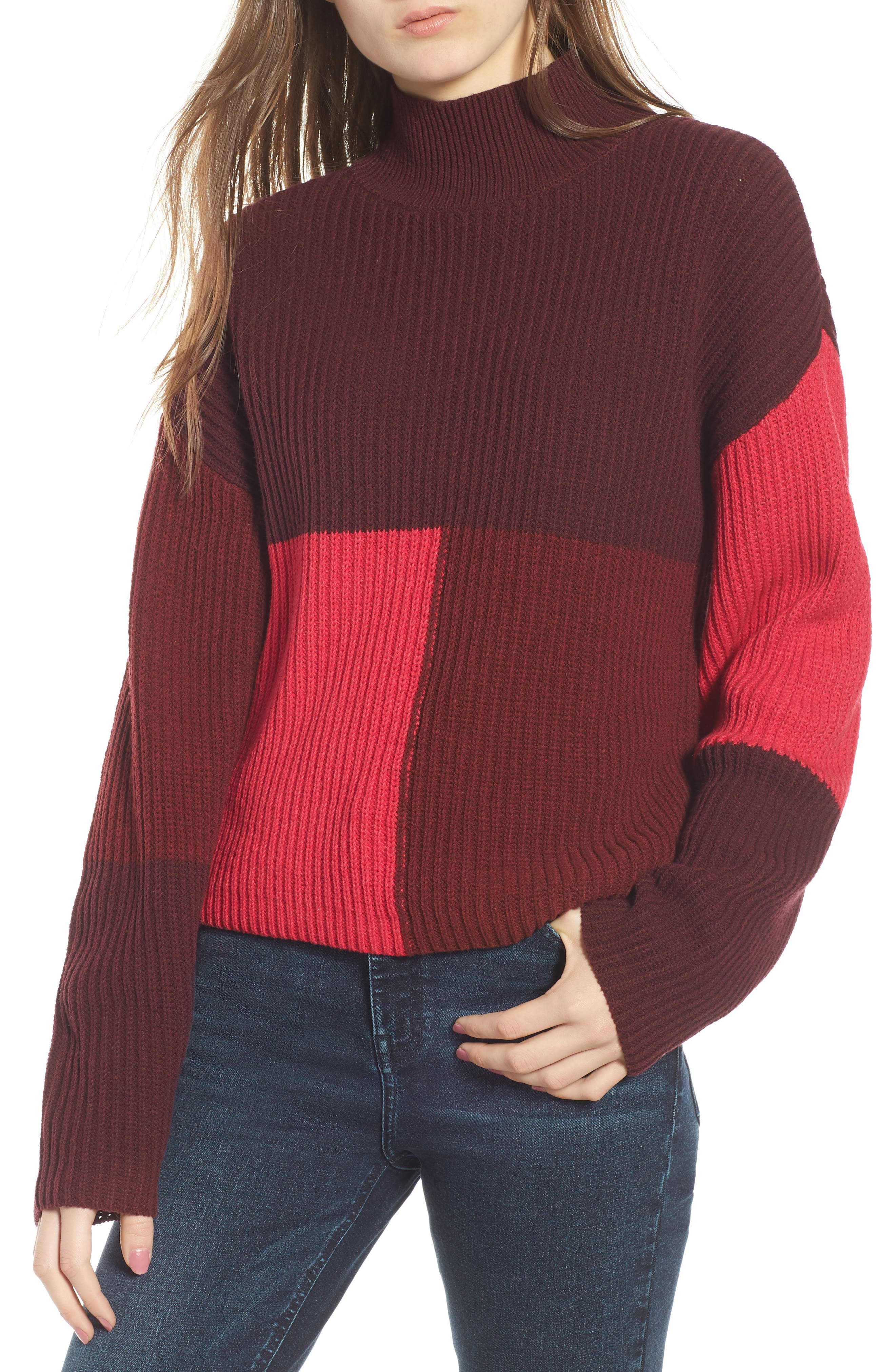Mock Neck Colorblock Sweater,                             Main thumbnail 1, color,                             RED RUMBA COLORBLOCK