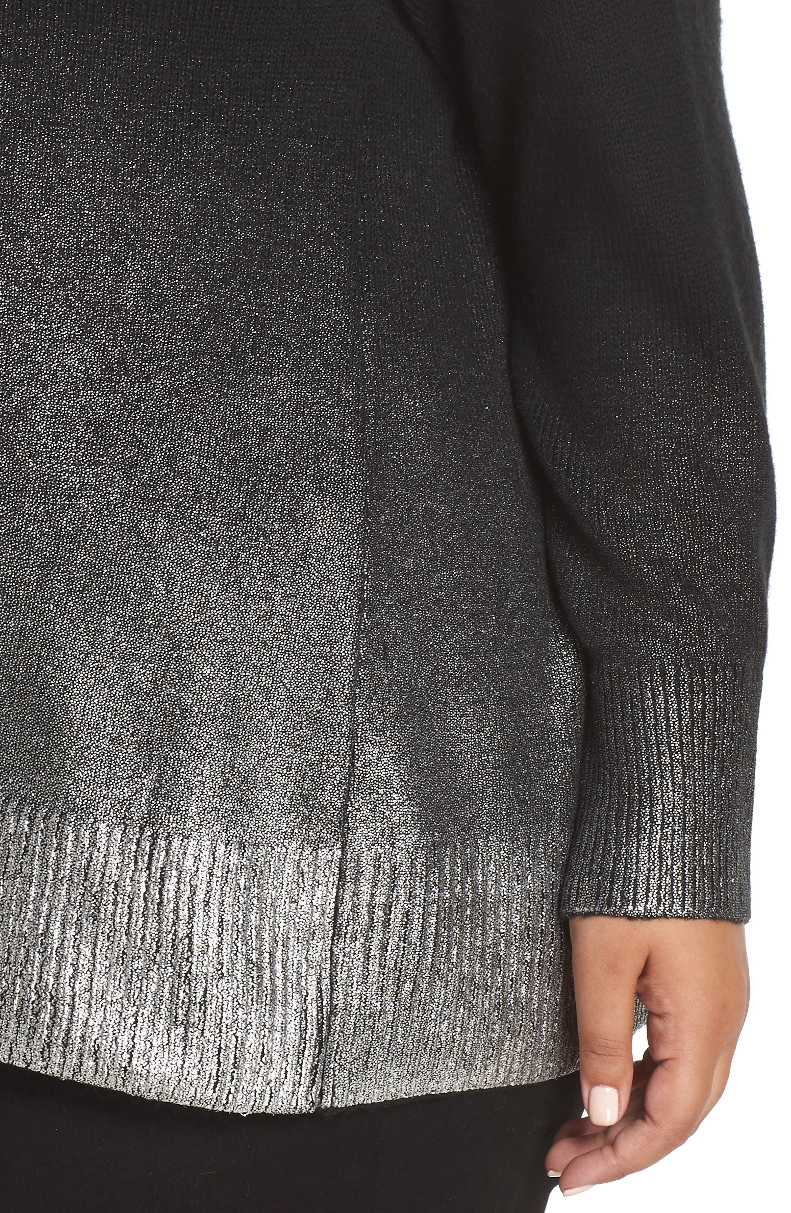 Long Sleeve Foiled Ombré Sweater,                             Alternate thumbnail 4, color,                             RICH BLACK