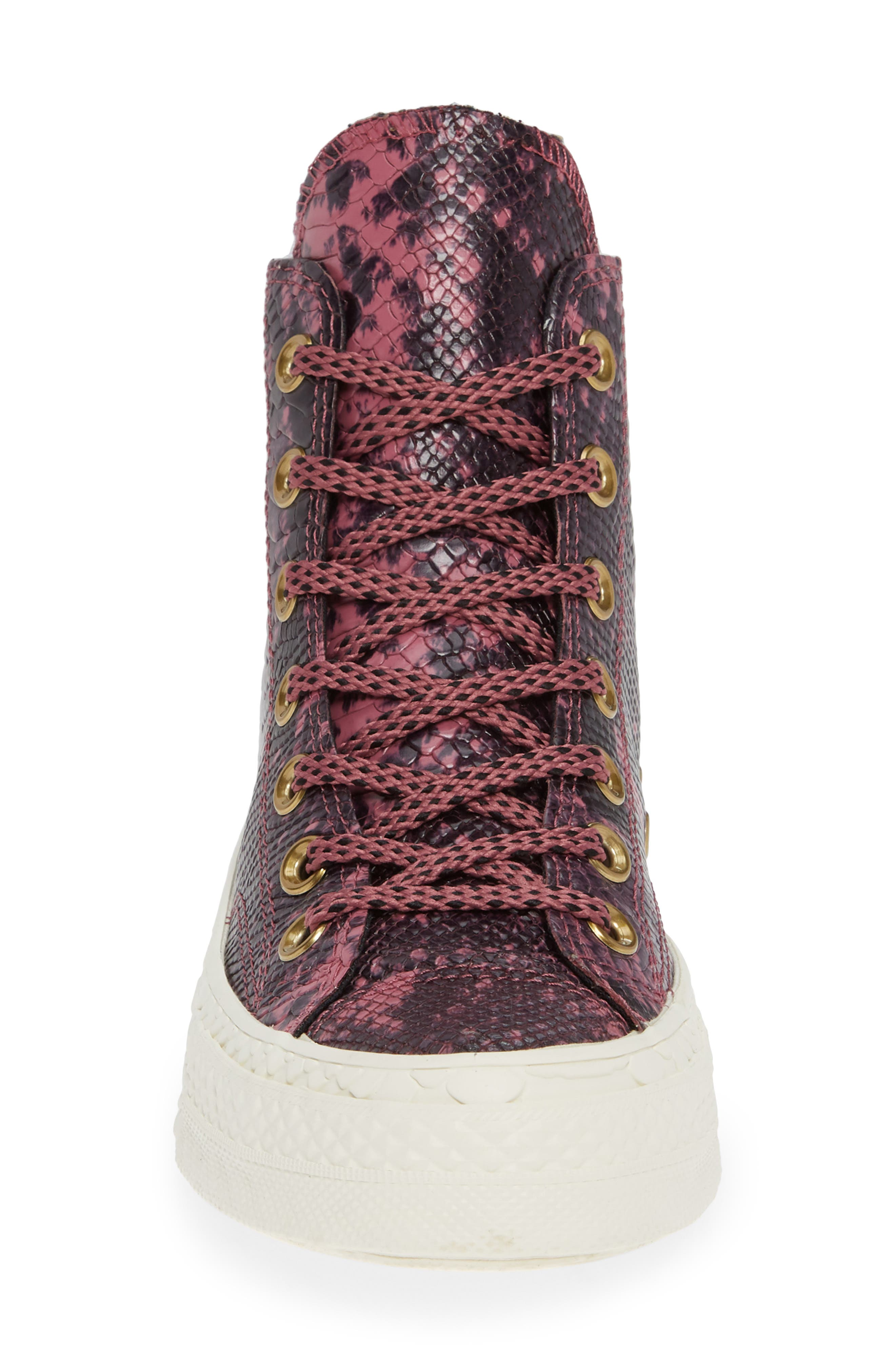Chuck Taylor<sup>®</sup> All Star<sup>®</sup> CT 70 Reptile High Top Sneaker,                             Alternate thumbnail 4, color,                             VINTAGE WINE LEATHER